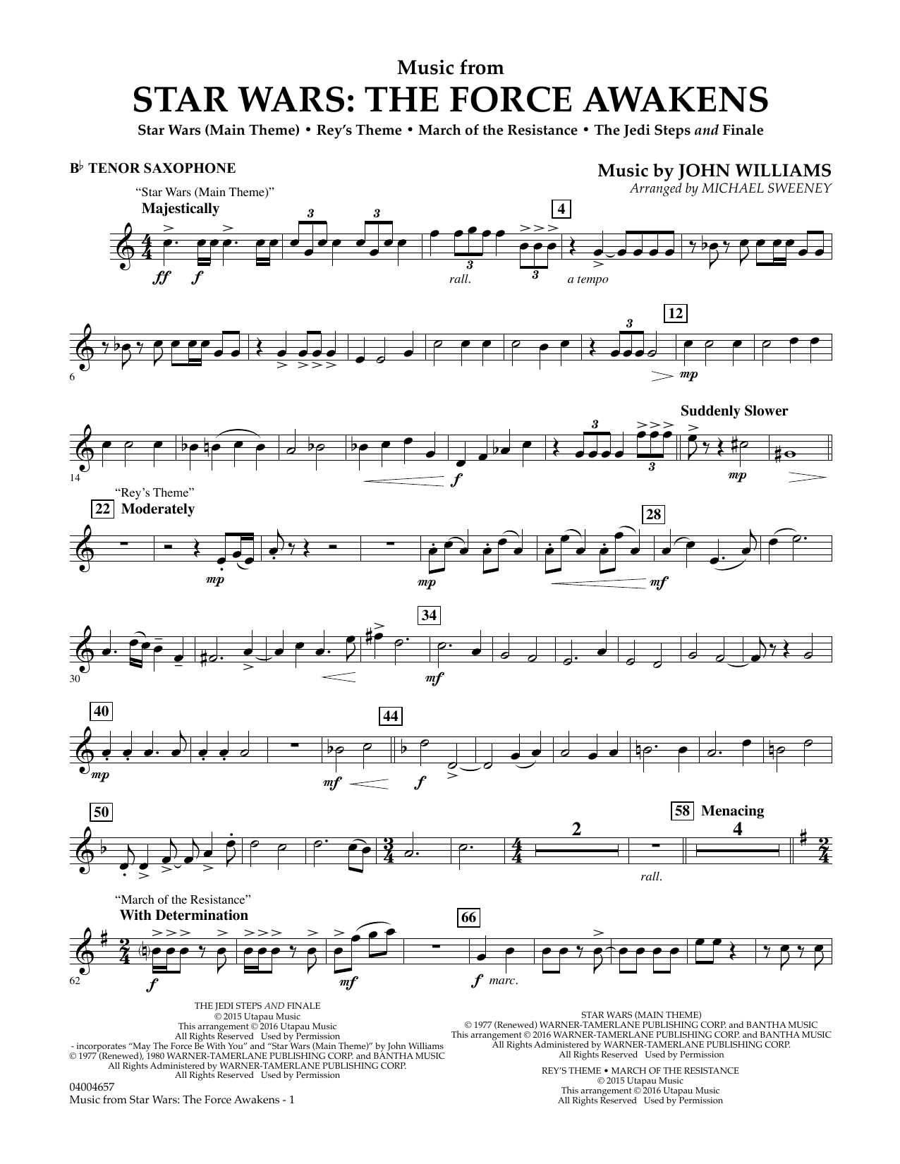 Music from Star Wars: The Force Awakens - Bb Tenor Saxophone (Concert Band)