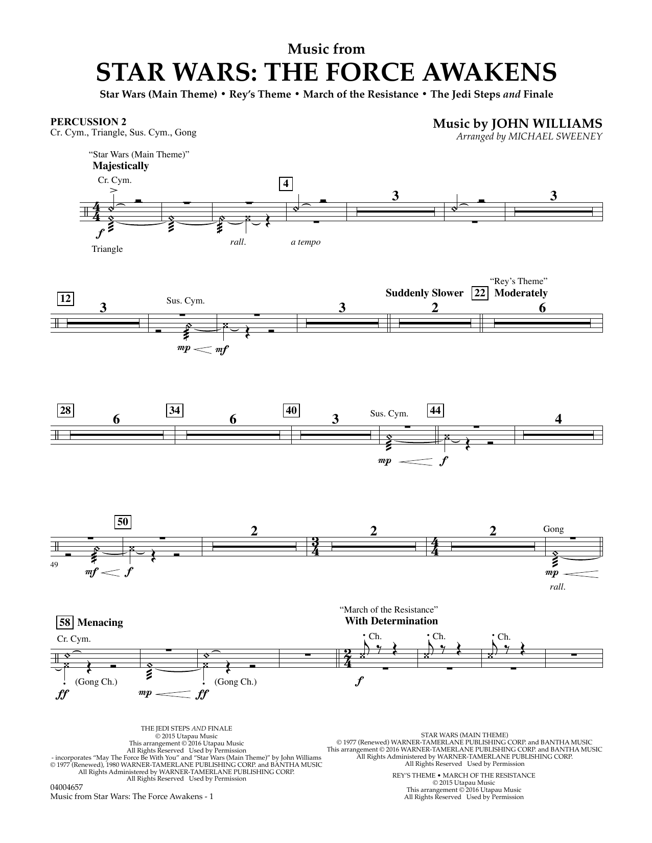 Music from Star Wars: The Force Awakens - Percussion 2 (Concert Band)