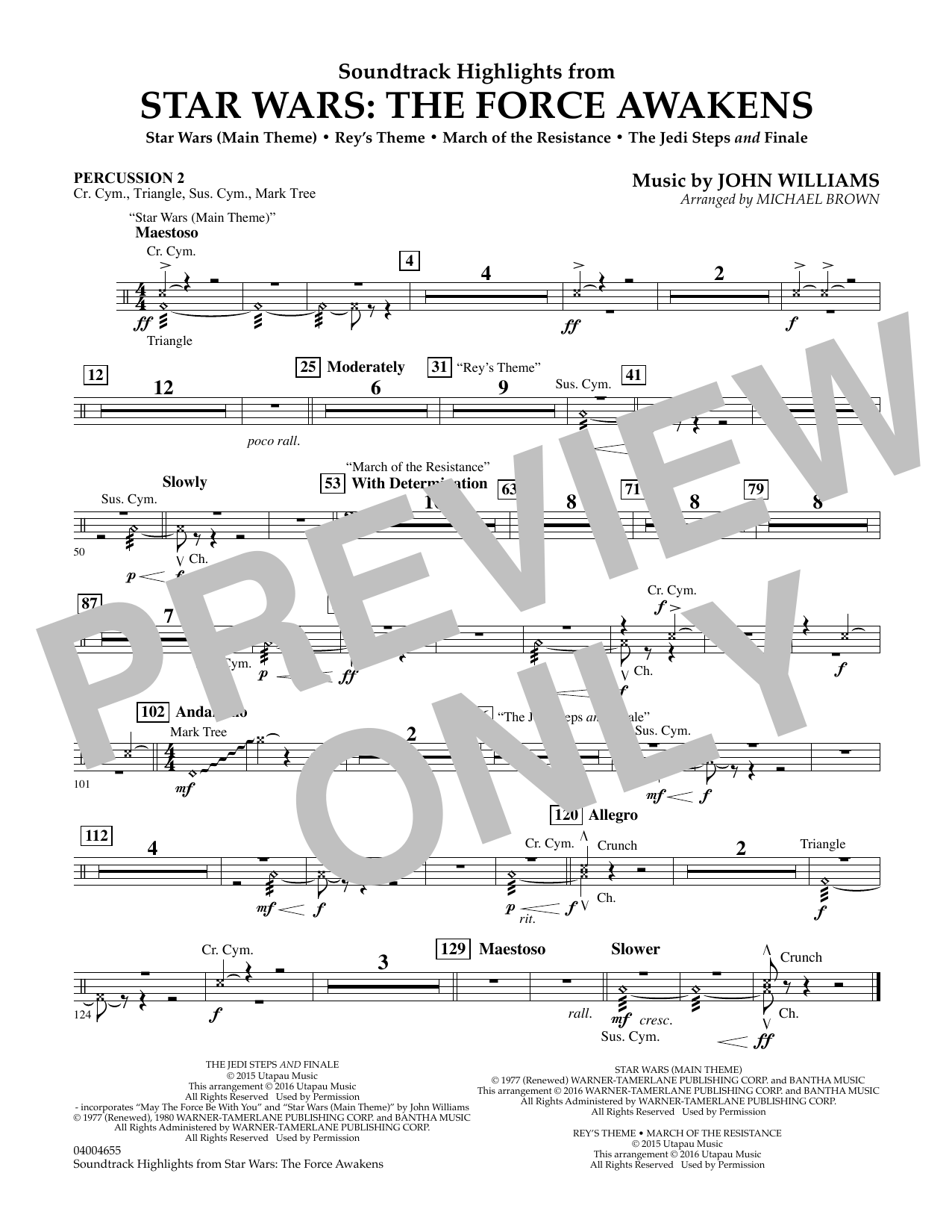 Soundtrack Highlights from Star Wars: The Force Awakens - Percussion 2 (Concert Band)