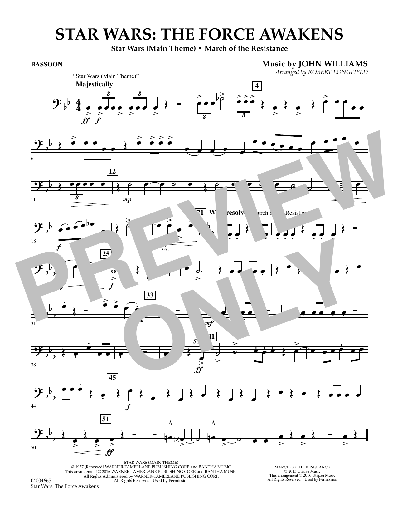 Star Wars: The Force Awakens - Bassoon (Concert Band)