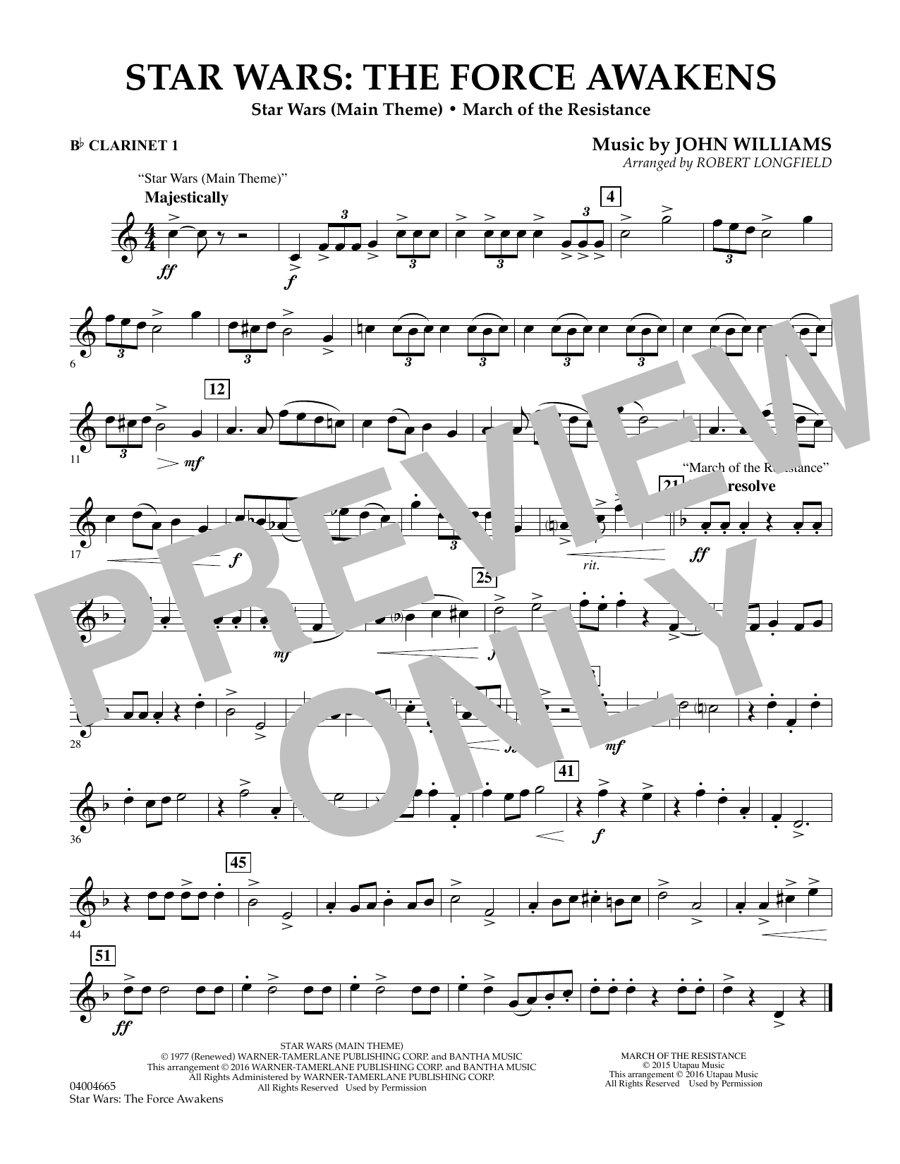 Star Wars: The Force Awakens - Bb Clarinet 1 (Concert Band)