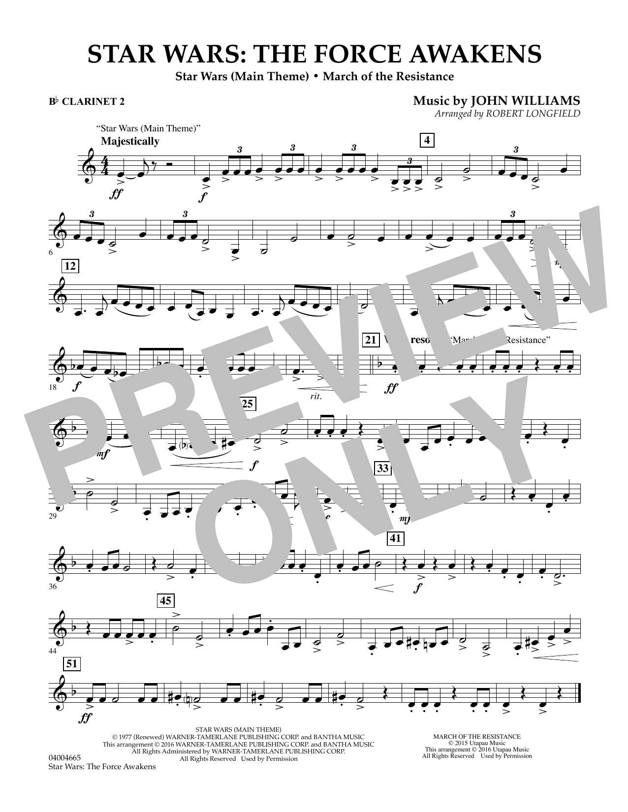 Star Wars: The Force Awakens - Bb Clarinet 2 (Concert Band)