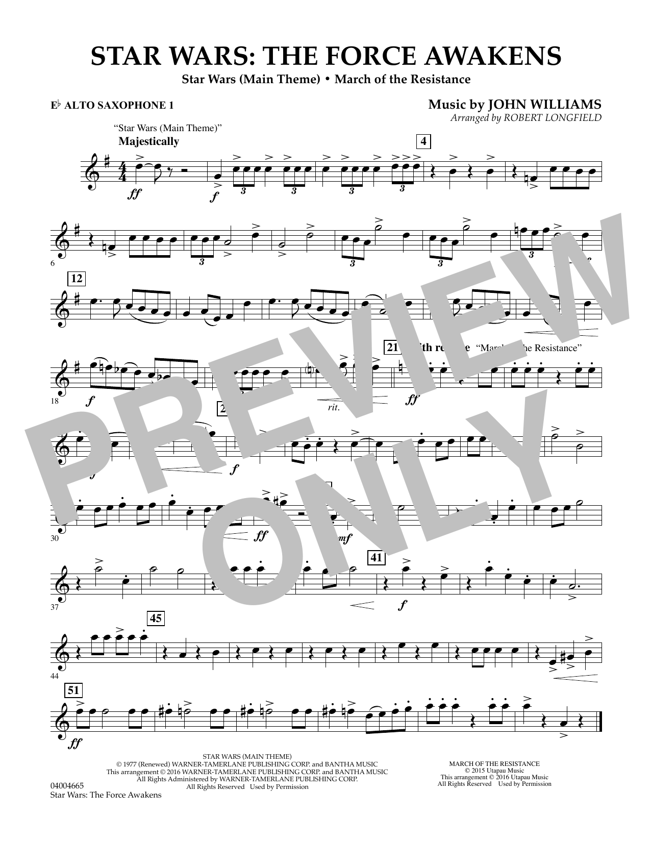 Star Wars: The Force Awakens - Eb Alto Saxophone 1 (Concert Band)