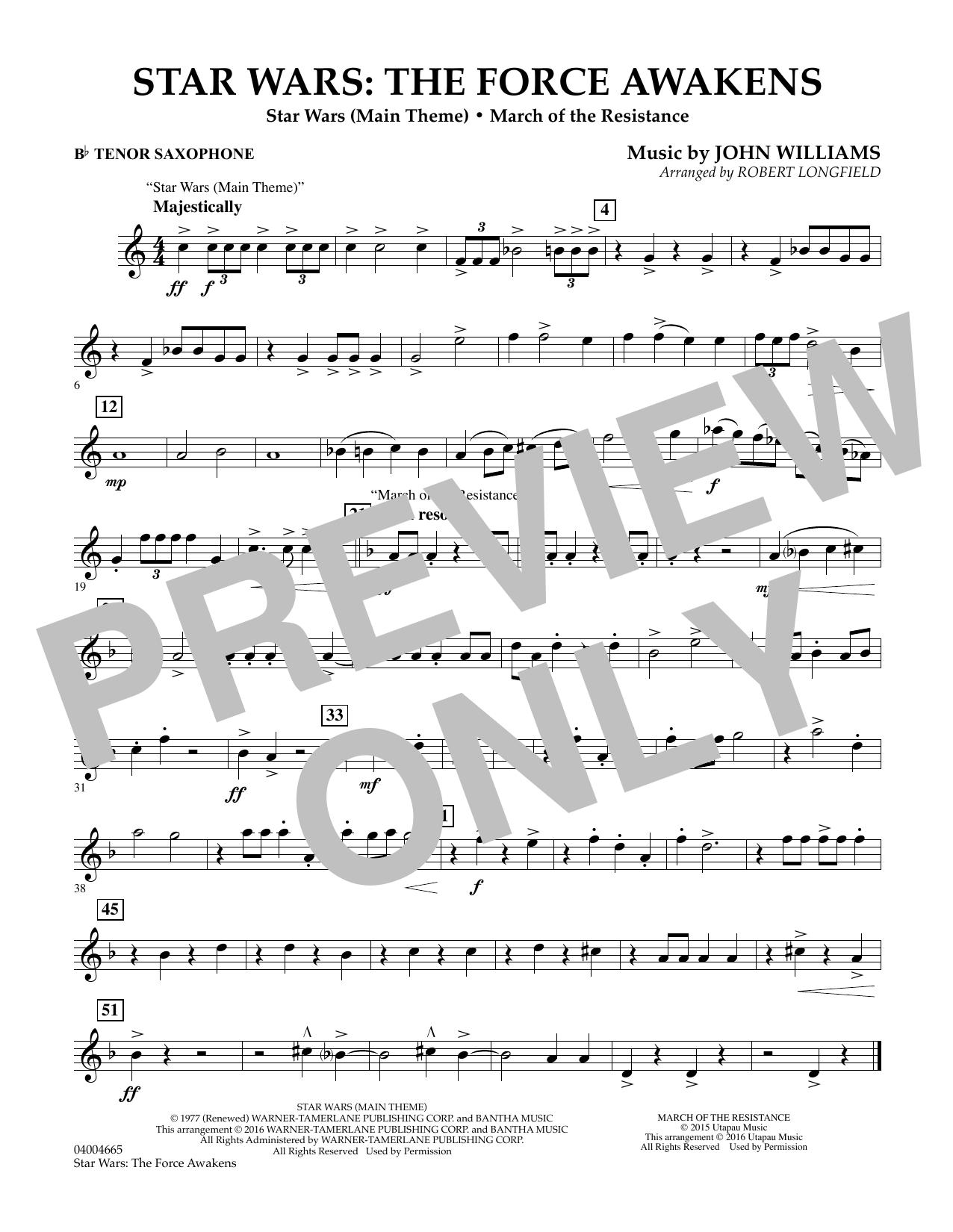 Star Wars: The Force Awakens - Bb Tenor Saxophone (Concert Band)
