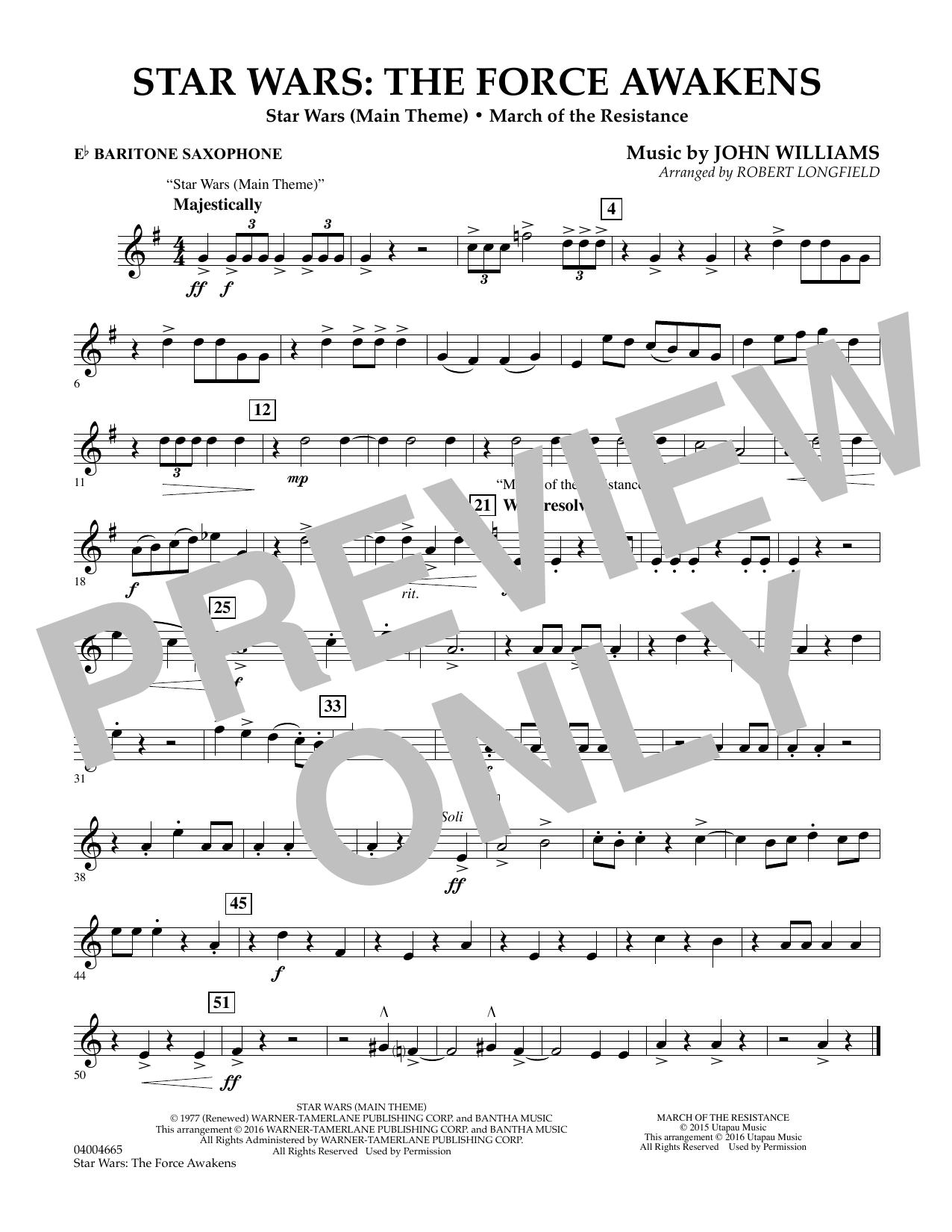 Star Wars: The Force Awakens - Eb Baritone Saxophone (Concert Band)