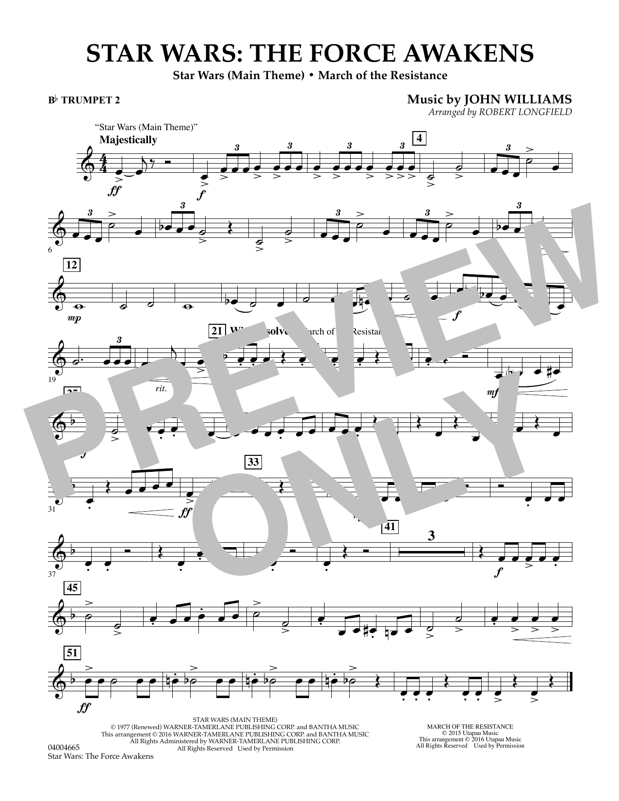 Star Wars: The Force Awakens - Bb Trumpet 2 (Concert Band)
