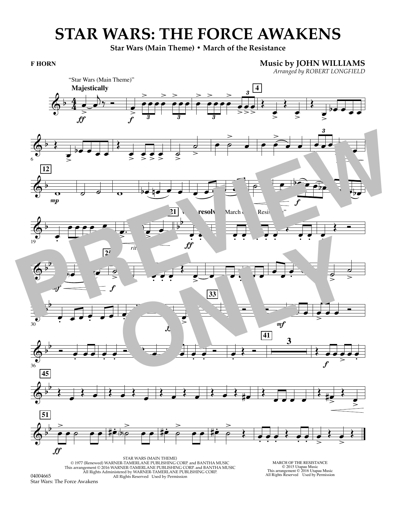 Star Wars: The Force Awakens - F Horn (Concert Band)