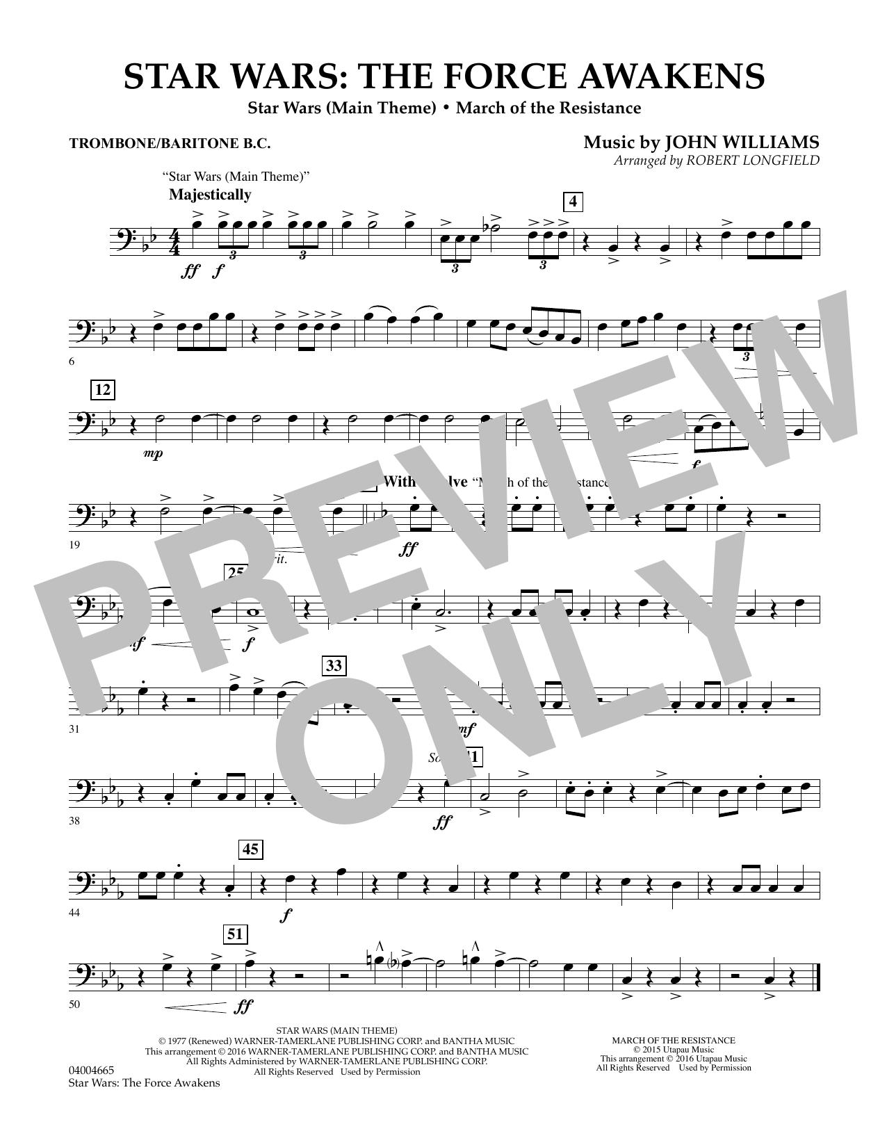 Star Wars: The Force Awakens - Trombone/Baritone B.C. (Concert Band)