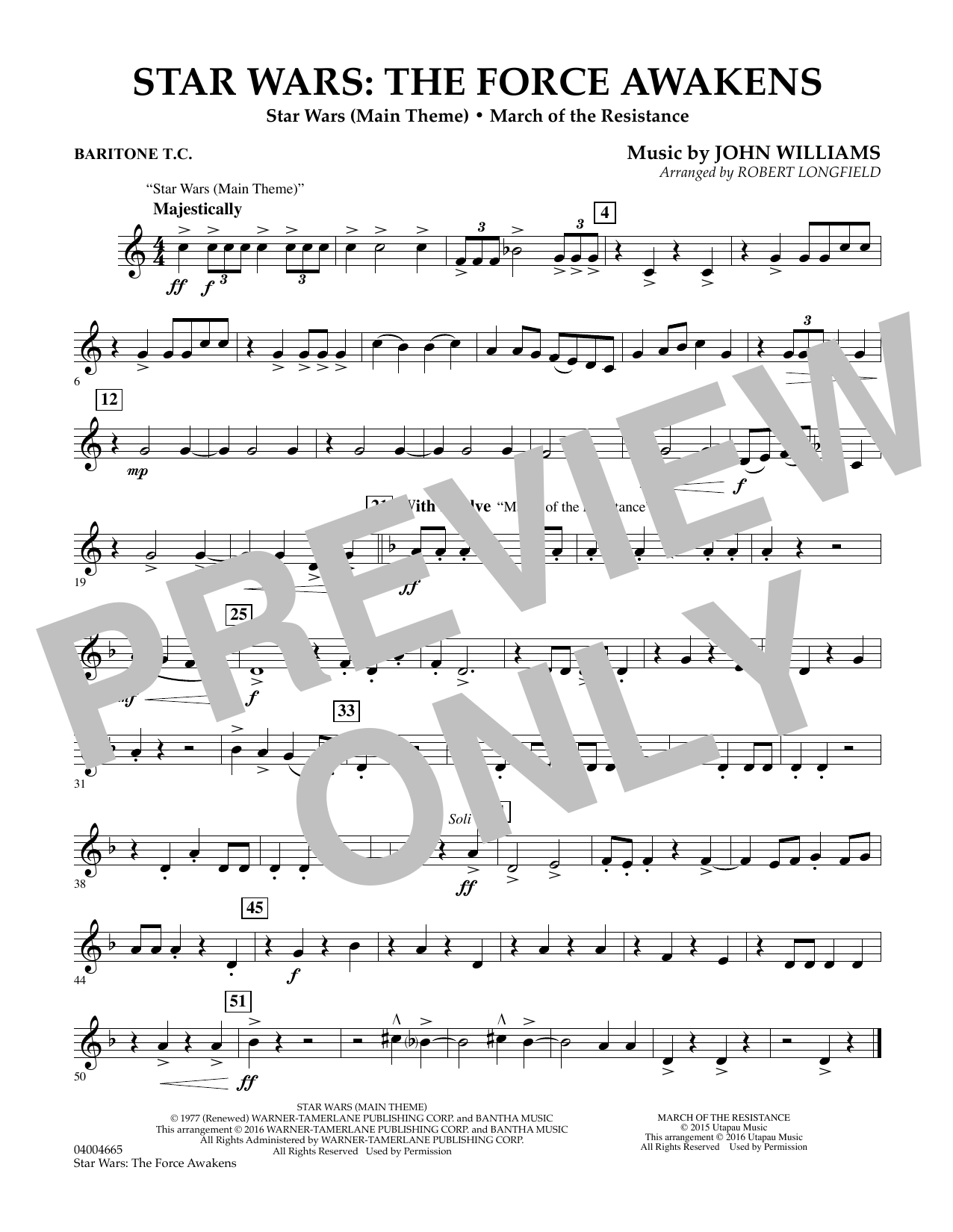 Star Wars: The Force Awakens - Baritone T.C. (Concert Band)