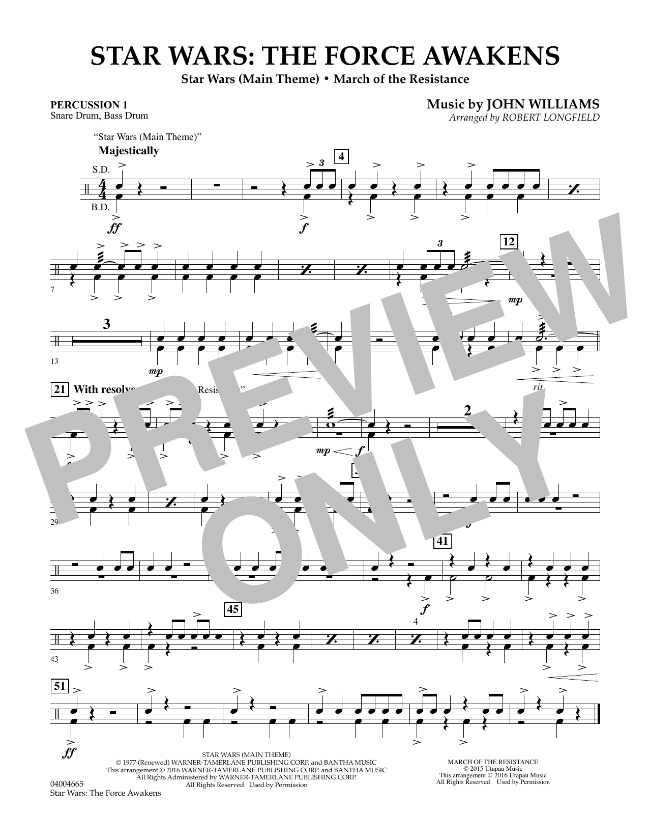 Star Wars: The Force Awakens - Percussion 1 (Concert Band)