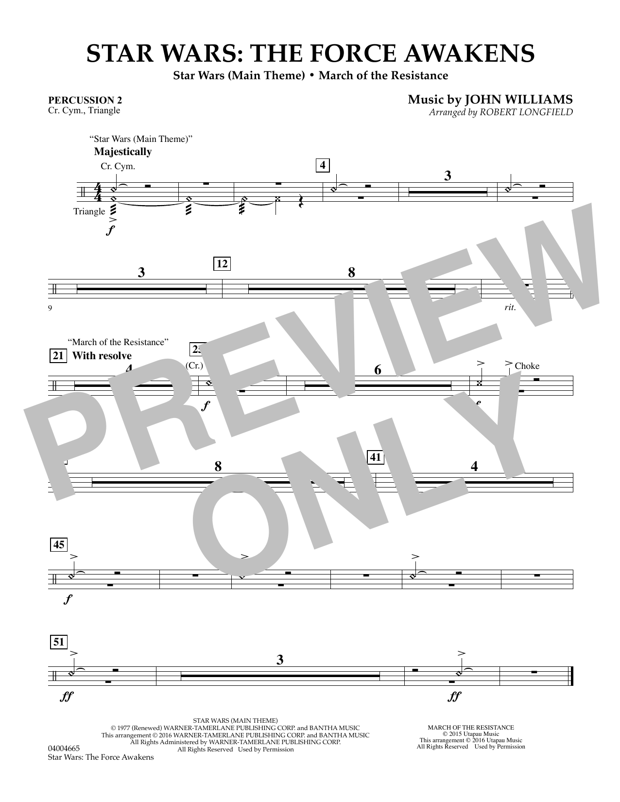 Star Wars: The Force Awakens - Percussion 2 (Concert Band)