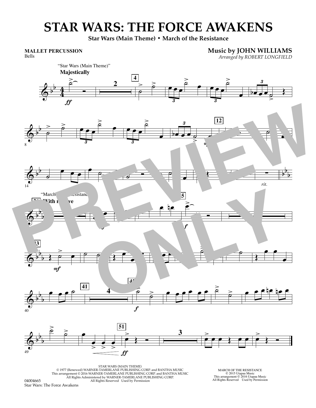 Star Wars: The Force Awakens - Mallet Percussion (Concert Band)