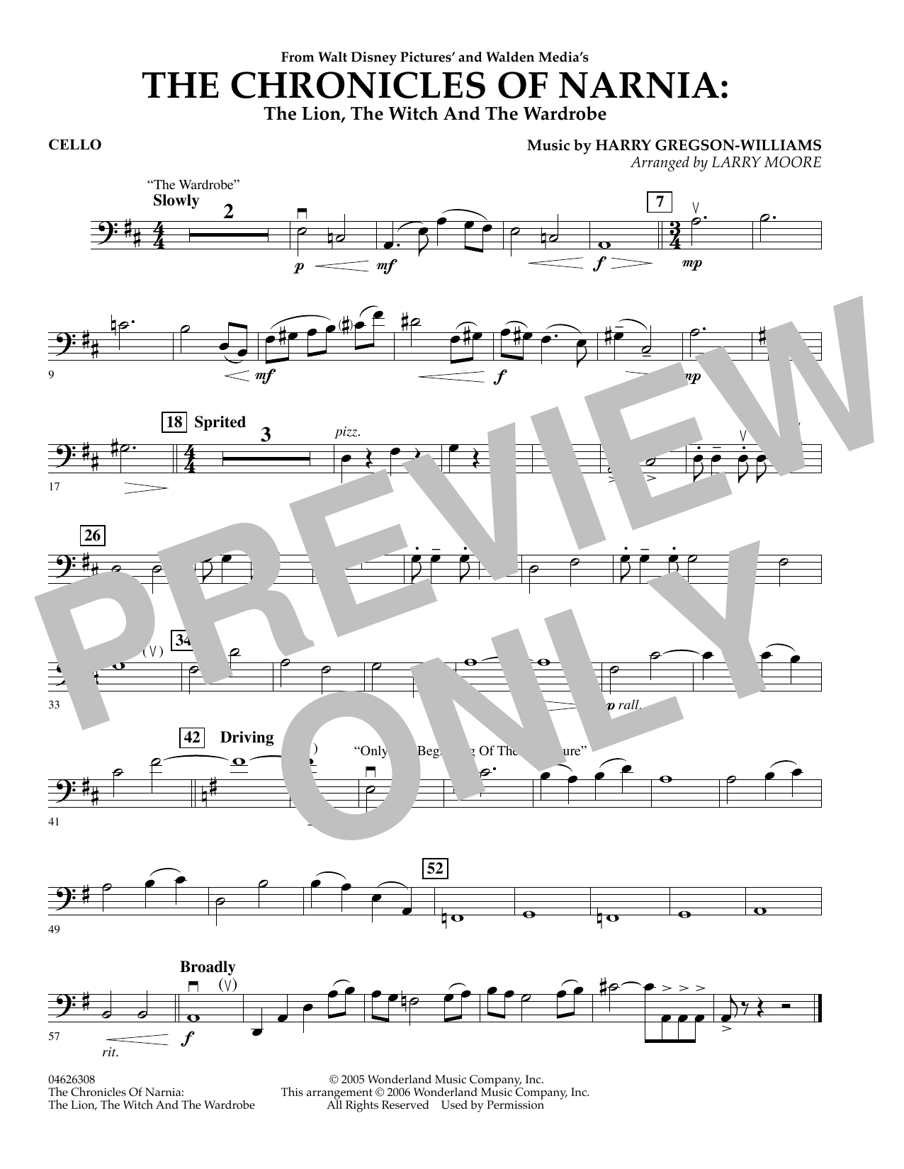 The Chronicles of Narnia - Cello (Orchestra)