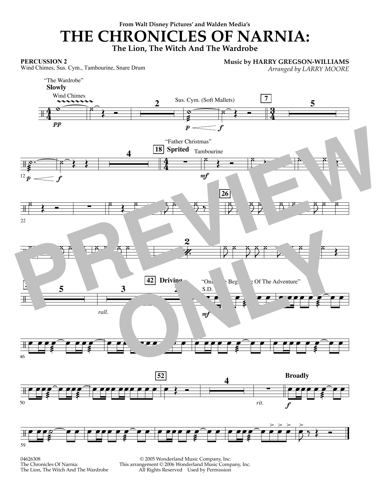 The Chronicles of Narnia - Percussion 2 (Orchestra)