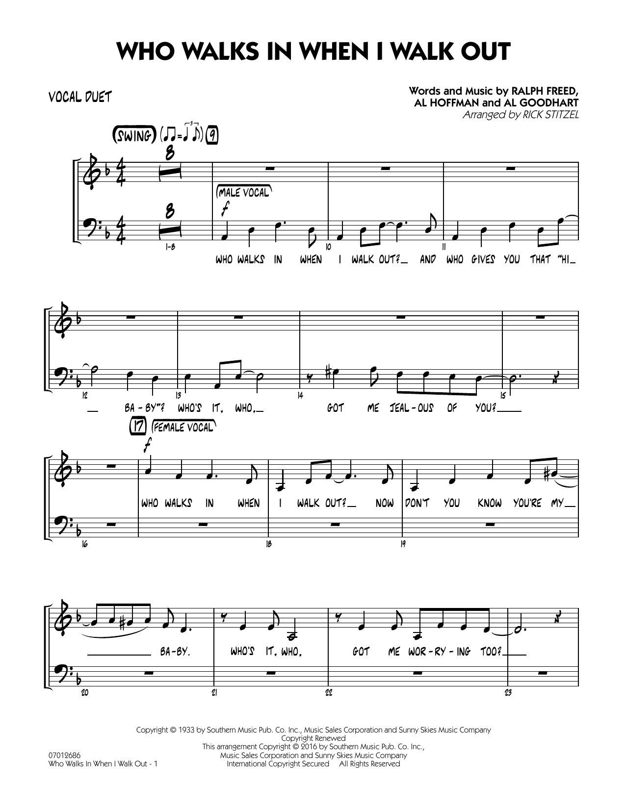 Who Walks In When I Walk Out? (Key: D minor) - Vocal Duet (Jazz Ensemble)