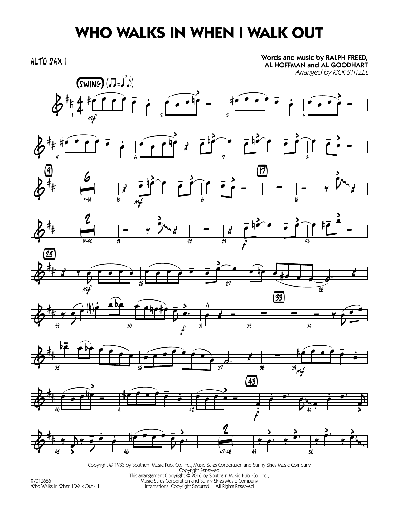 Who Walks In When I Walk Out? (Key: D minor) - Alto Sax 1 (Jazz Ensemble)