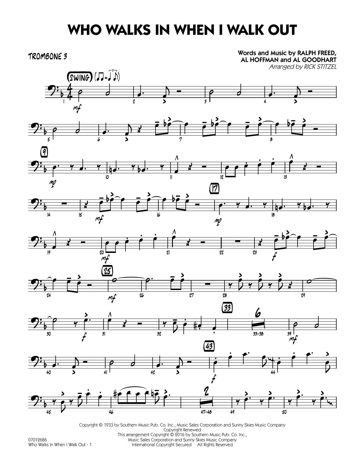 Who Walks In When I Walk Out? (Key: D minor) - Trombone 3 (Jazz Ensemble)
