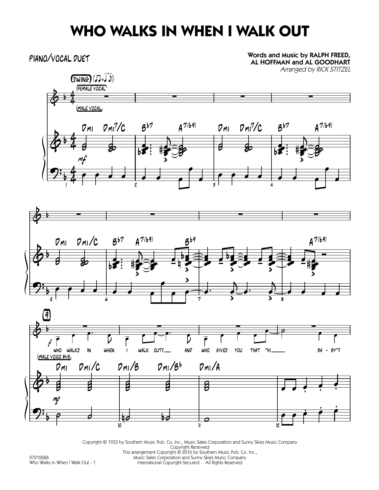 Who Walks In When I Walk Out? (Key: D minor) - Piano/Vocal Duet (Jazz Ensemble)