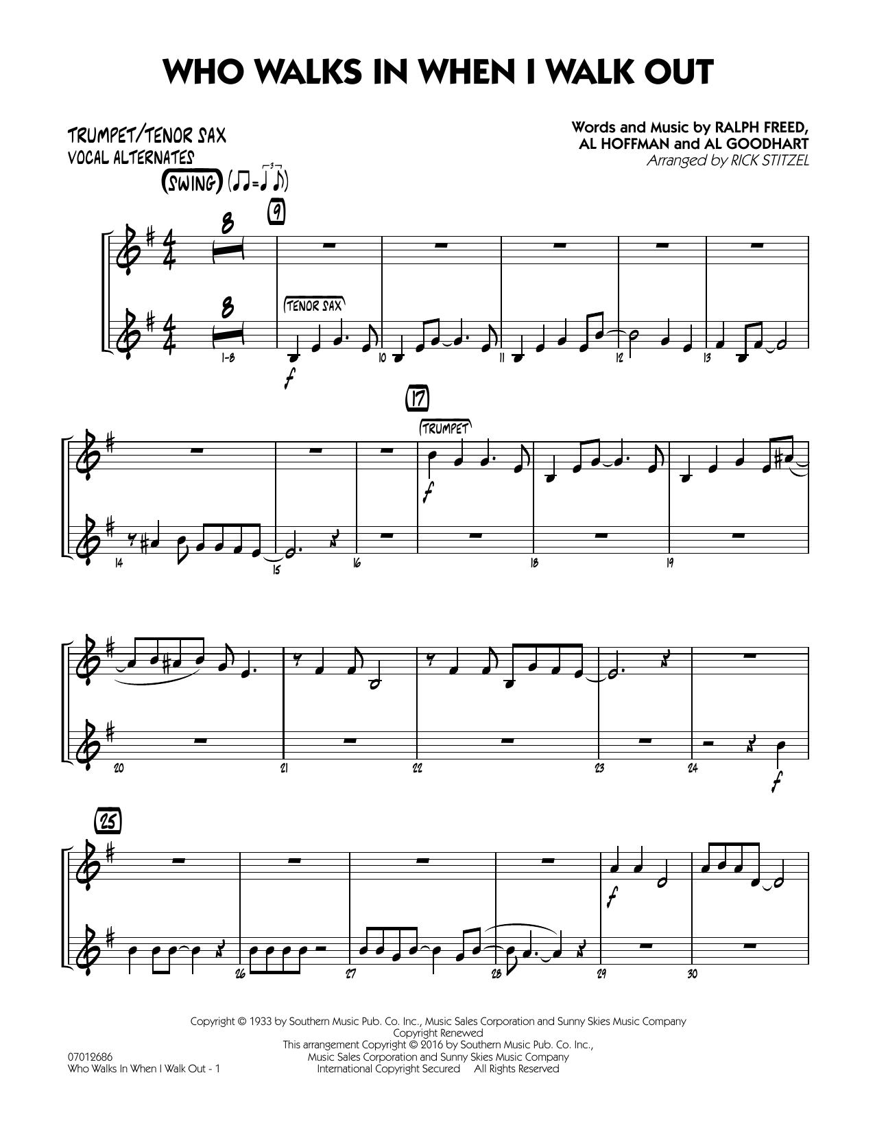 Who Walks In When I Walk Out? (Key: D minor) - Trumpet/Tenor Sax (Vocal Alt.) (Jazz Ensemble)