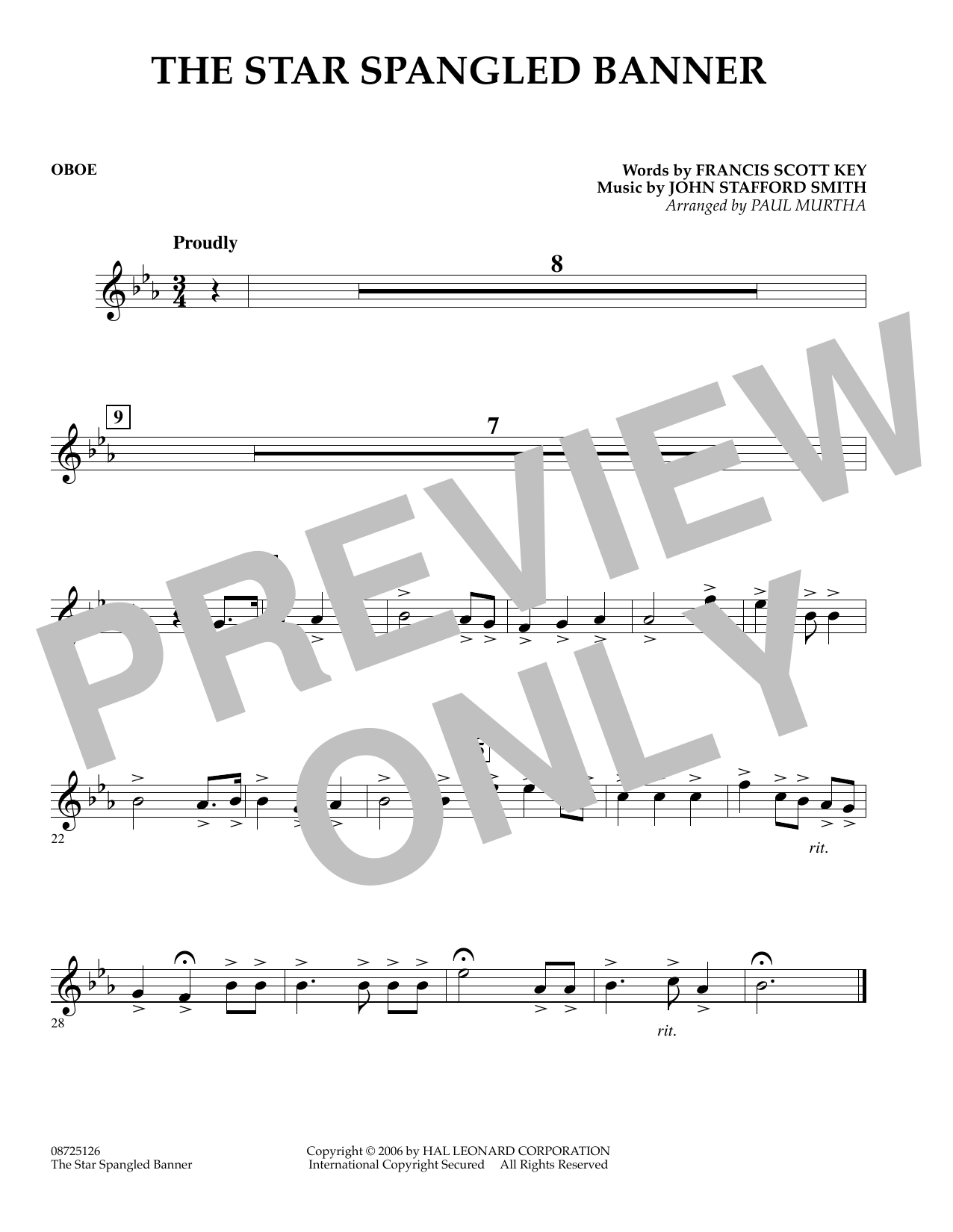 The Star Spangled Banner - Oboe (Concert Band)