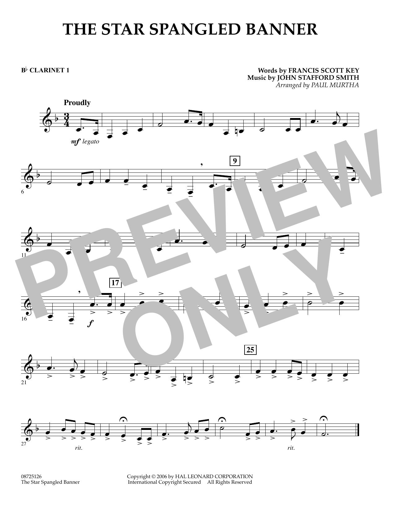 page one of The Star Spangled Banner - Bb Clarinet 1ASALTTEXT