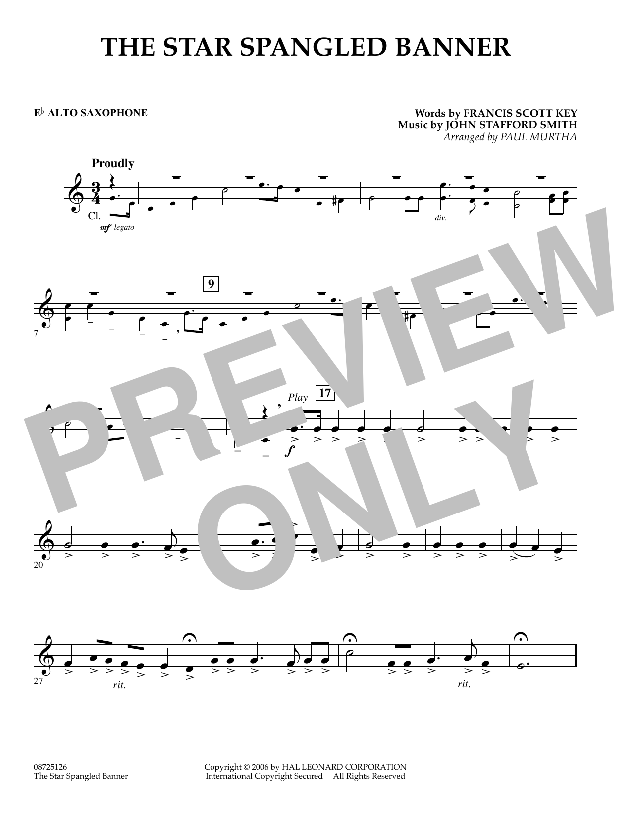 The Star Spangled Banner - Eb Alto Saxophone (Concert Band)