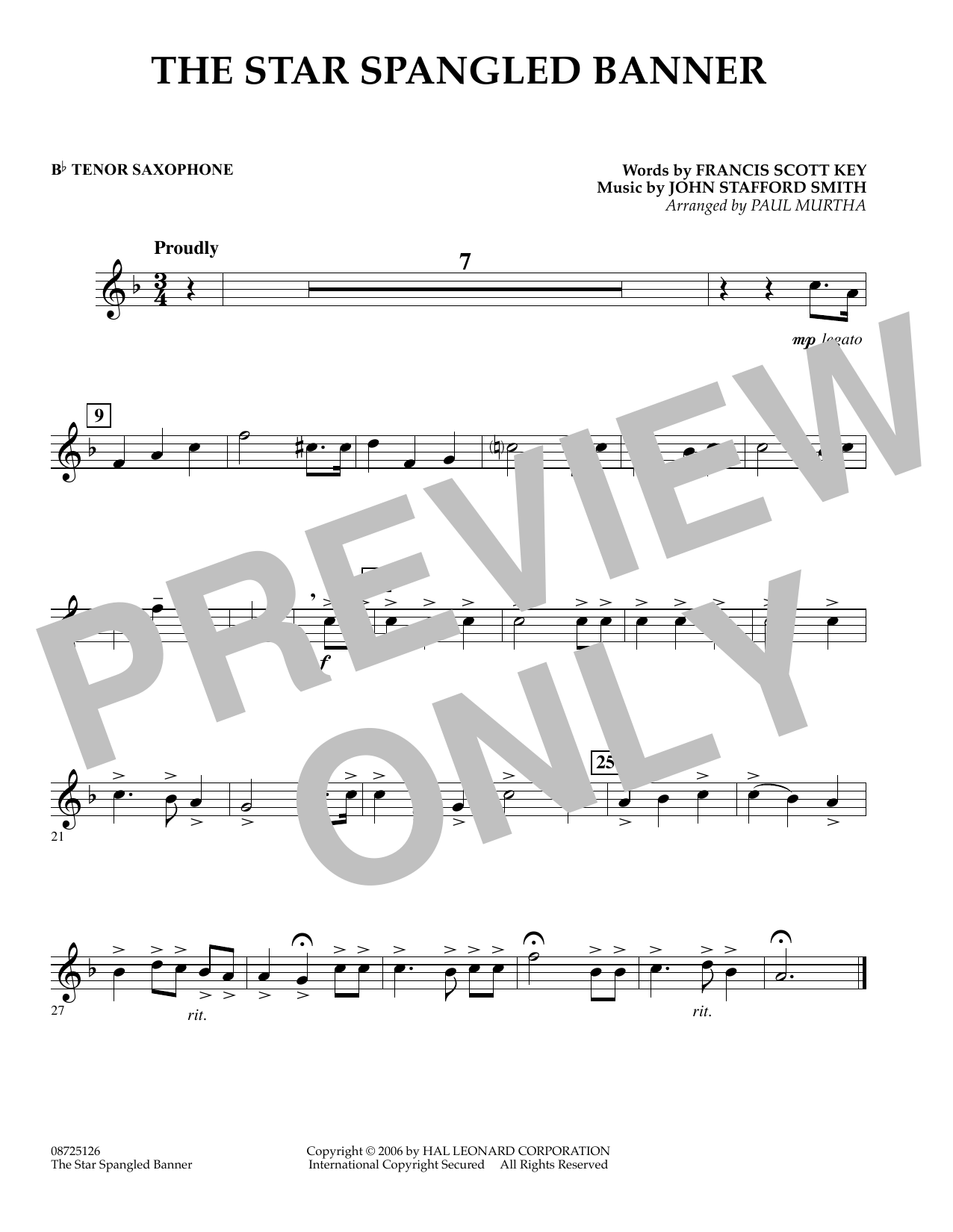 The Star Spangled Banner - Bb Tenor Saxophone (Concert Band)