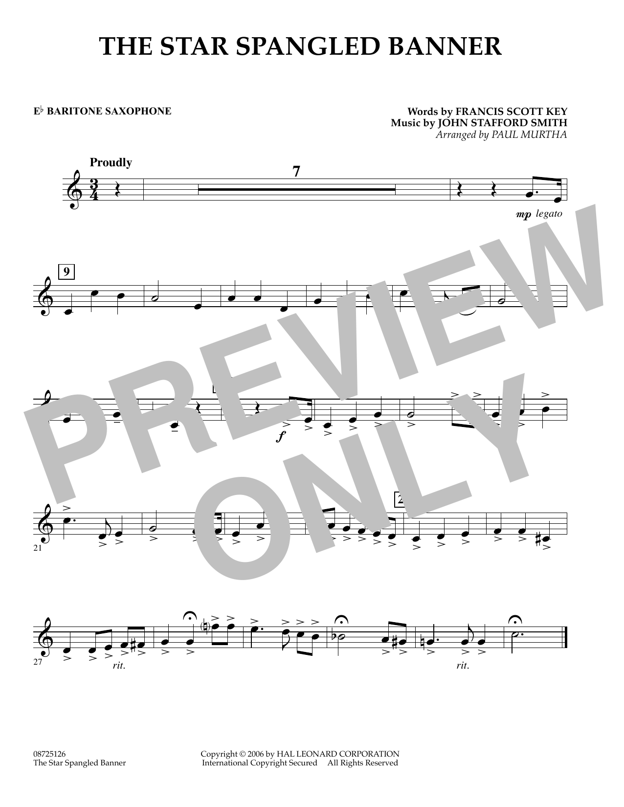 The Star Spangled Banner - Eb Baritone Saxophone (Concert Band)