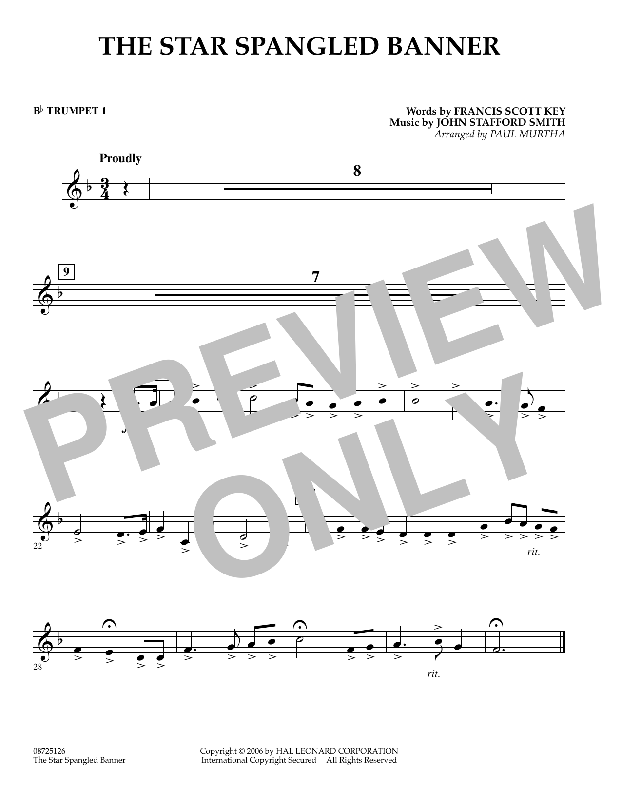 The Star Spangled Banner - Bb Trumpet 1 (Concert Band)