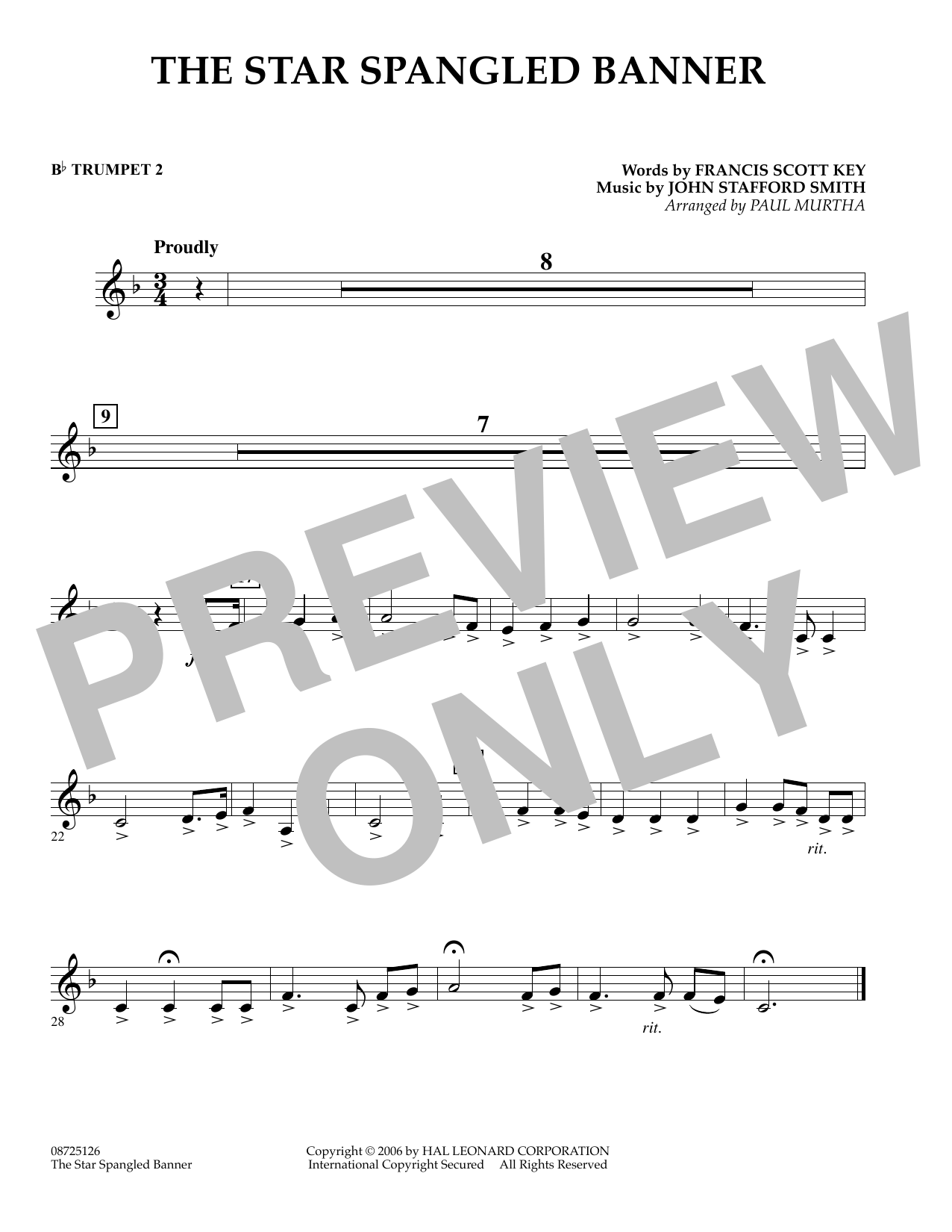 page one of The Star Spangled Banner - Bb Trumpet 2ASALTTEXT