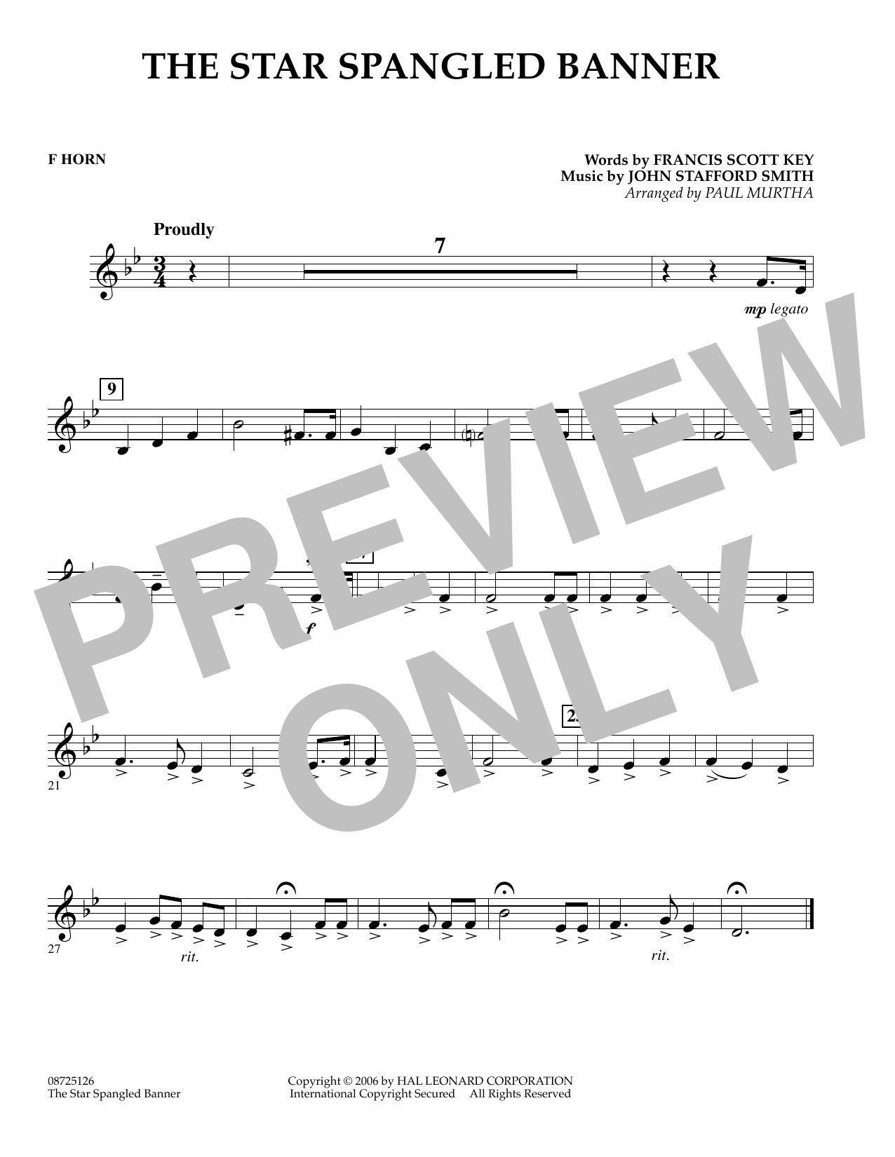 The Star Spangled Banner - F Horn (Concert Band)