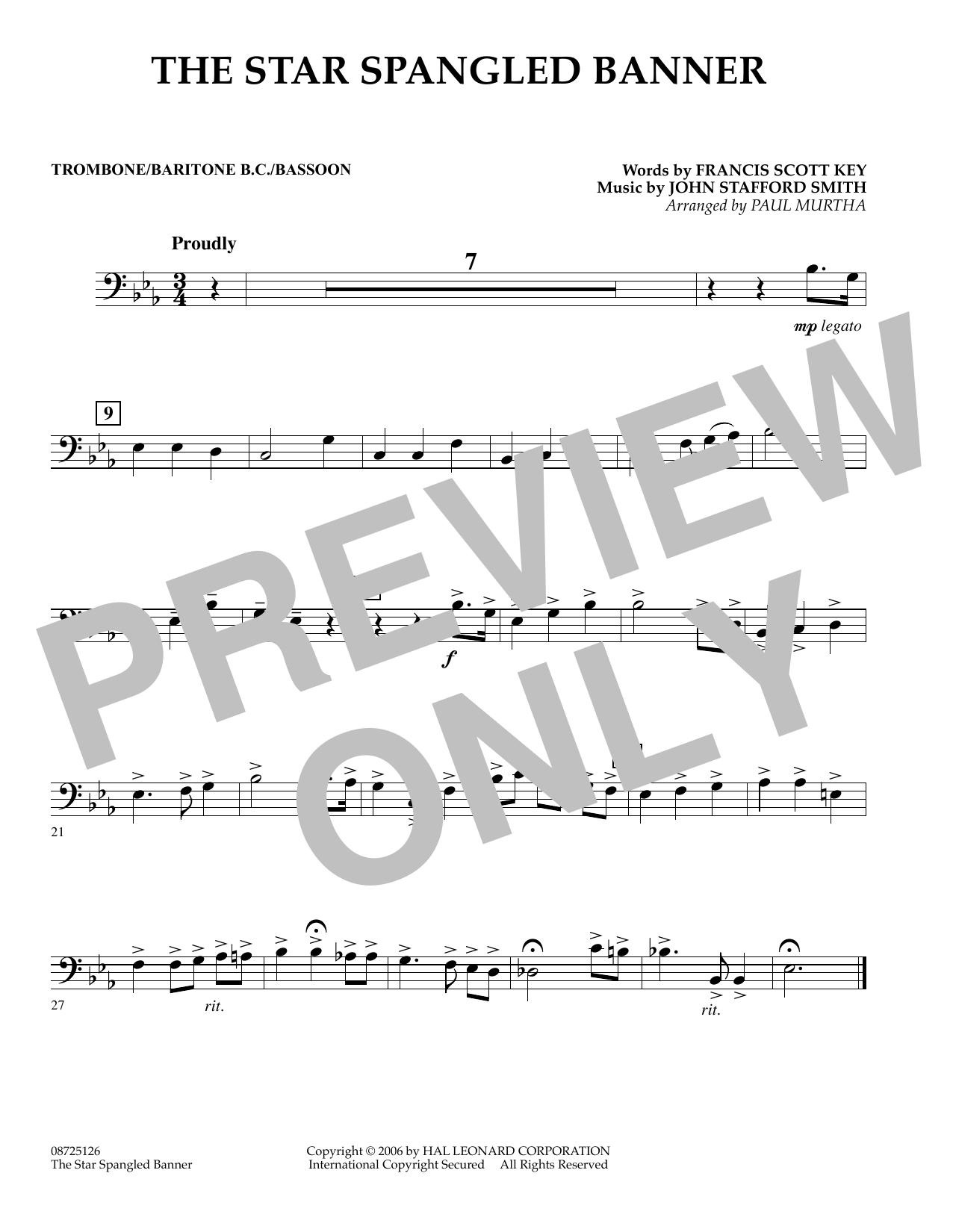 page one of The Star Spangled Banner - Trombone/Baritone B.C./BassoonASALTTEXT