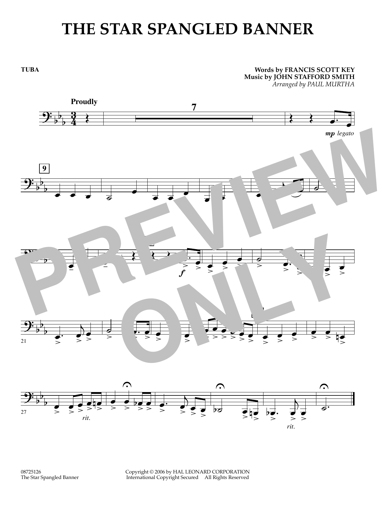 The Star Spangled Banner - Tuba (Concert Band)