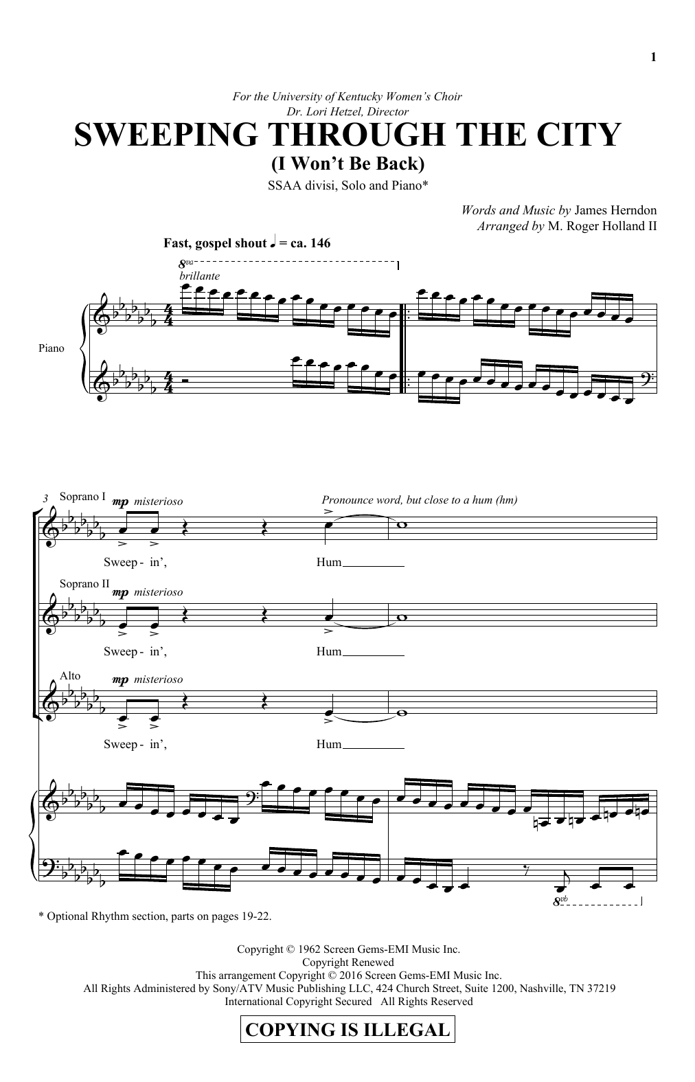 Sweeping Through The City (I Won't Be Back) Sheet Music
