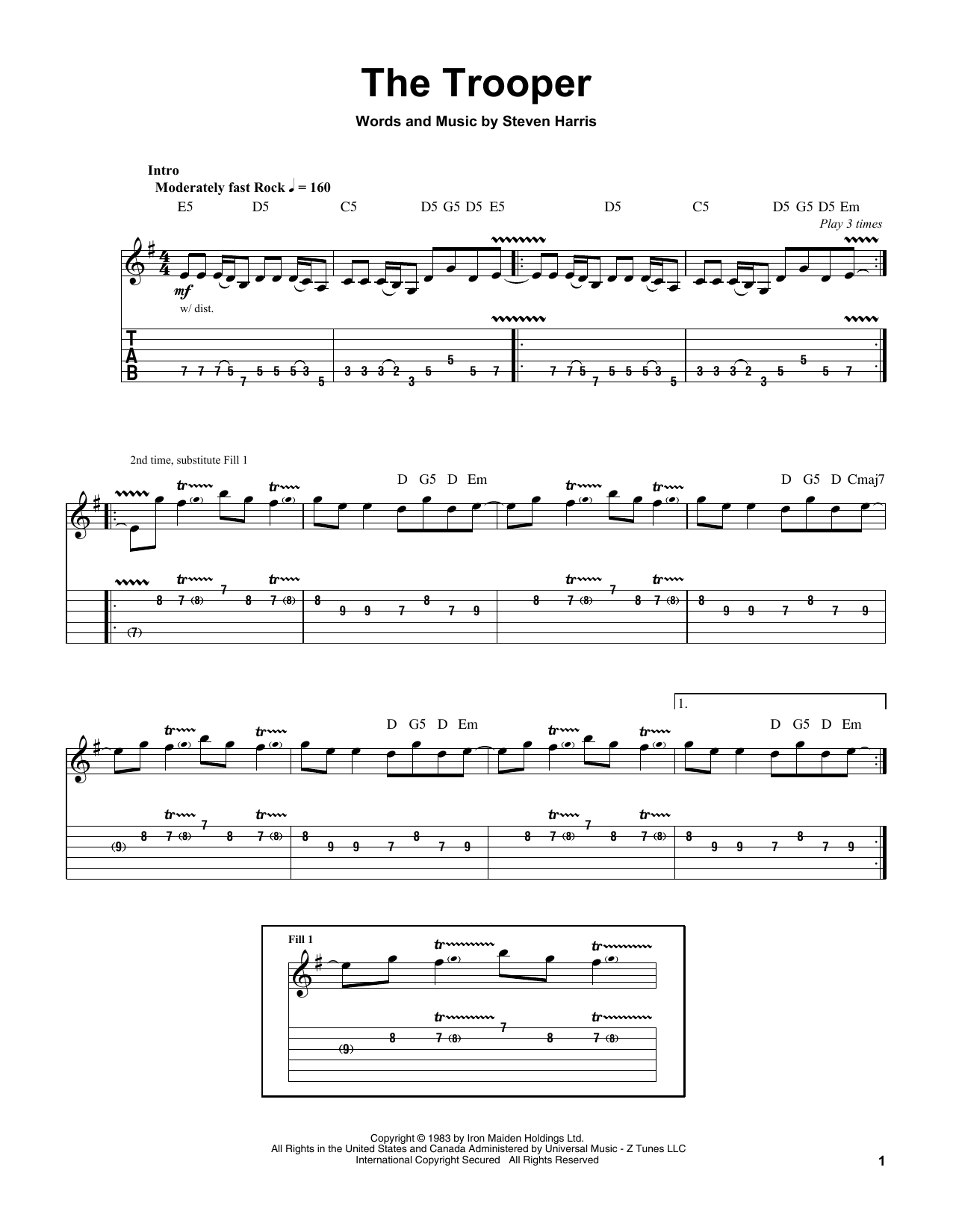 The Trooper Sheet Music