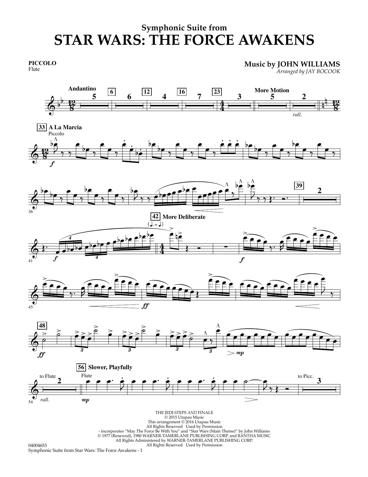 Symphonic Suite from Star Wars: The Force Awakens - Piccolo (Concert Band)