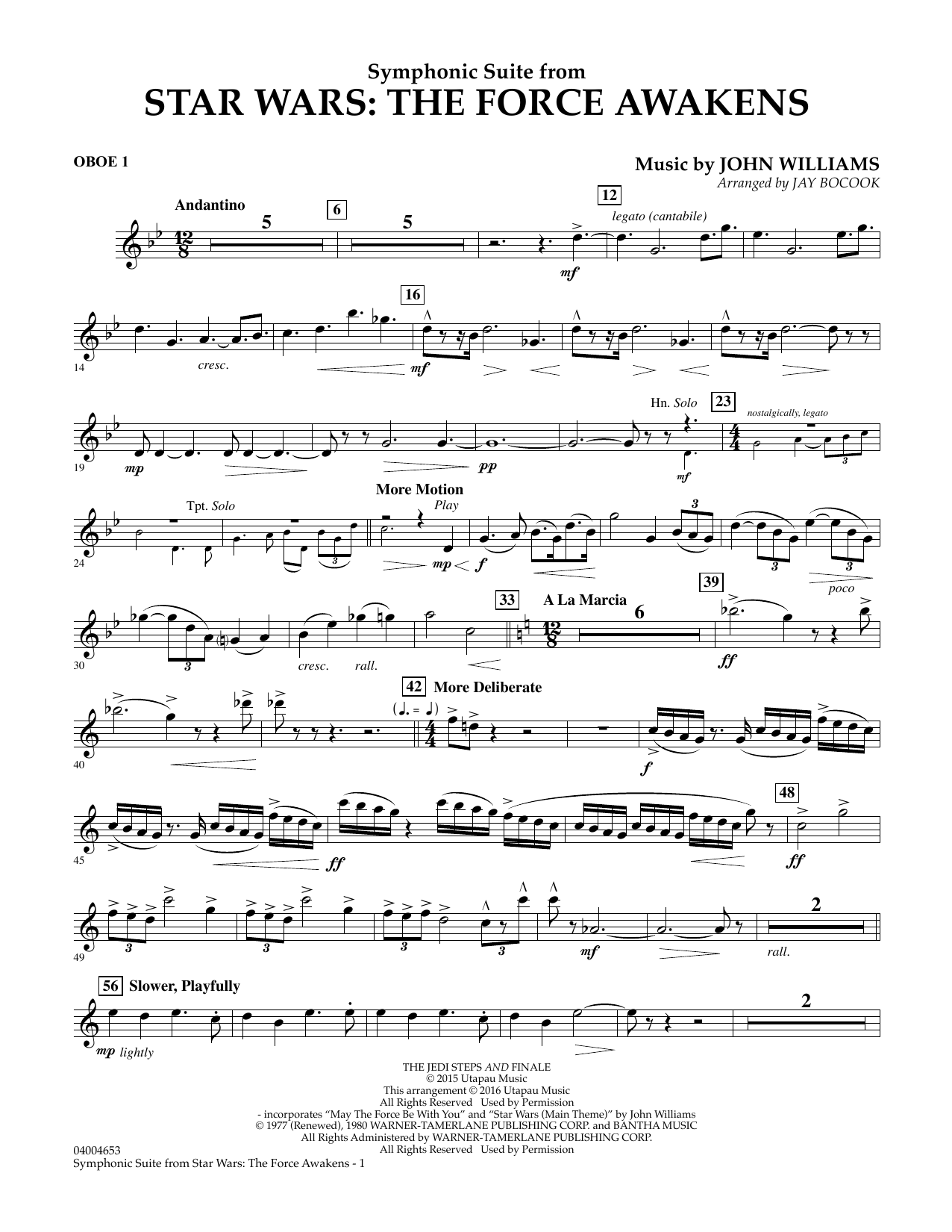 Symphonic Suite from Star Wars: The Force Awakens - Oboe 1 (Concert Band)