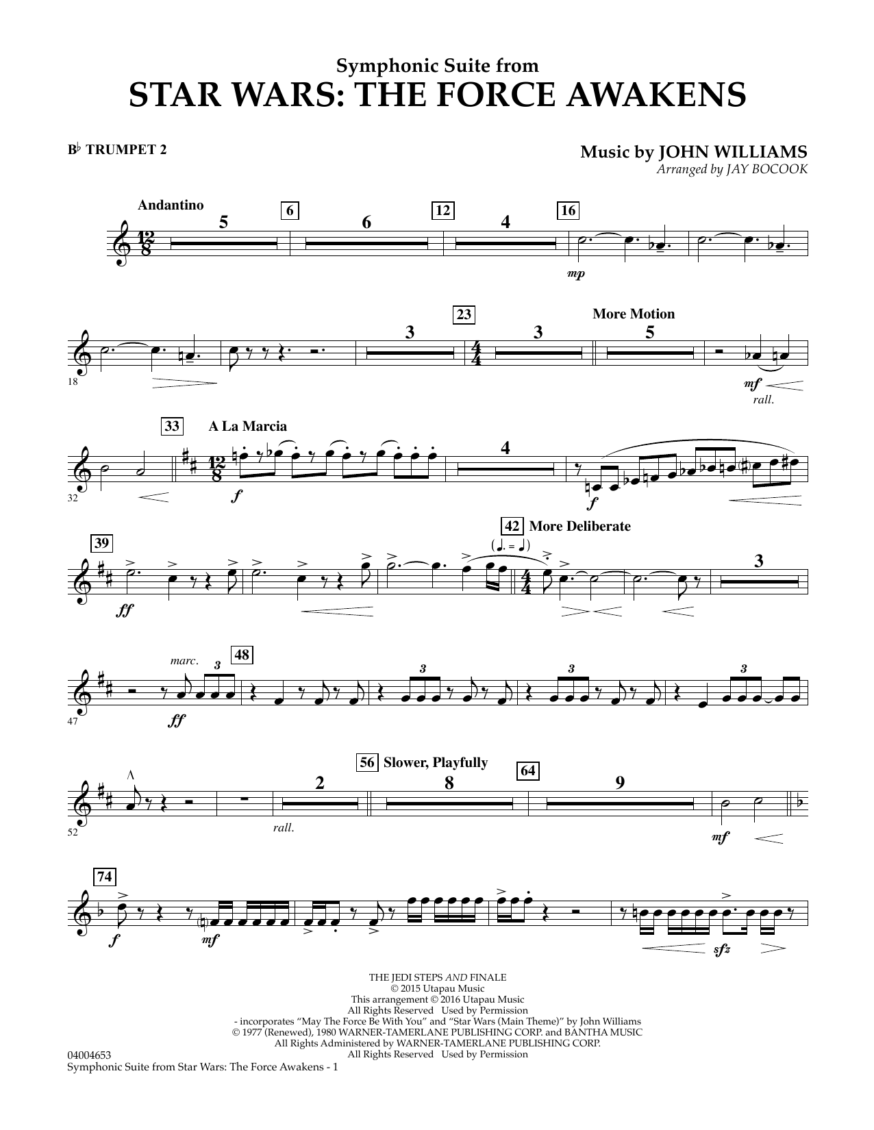 Symphonic Suite from Star Wars: The Force Awakens - Bb Trumpet 2 (Concert Band)