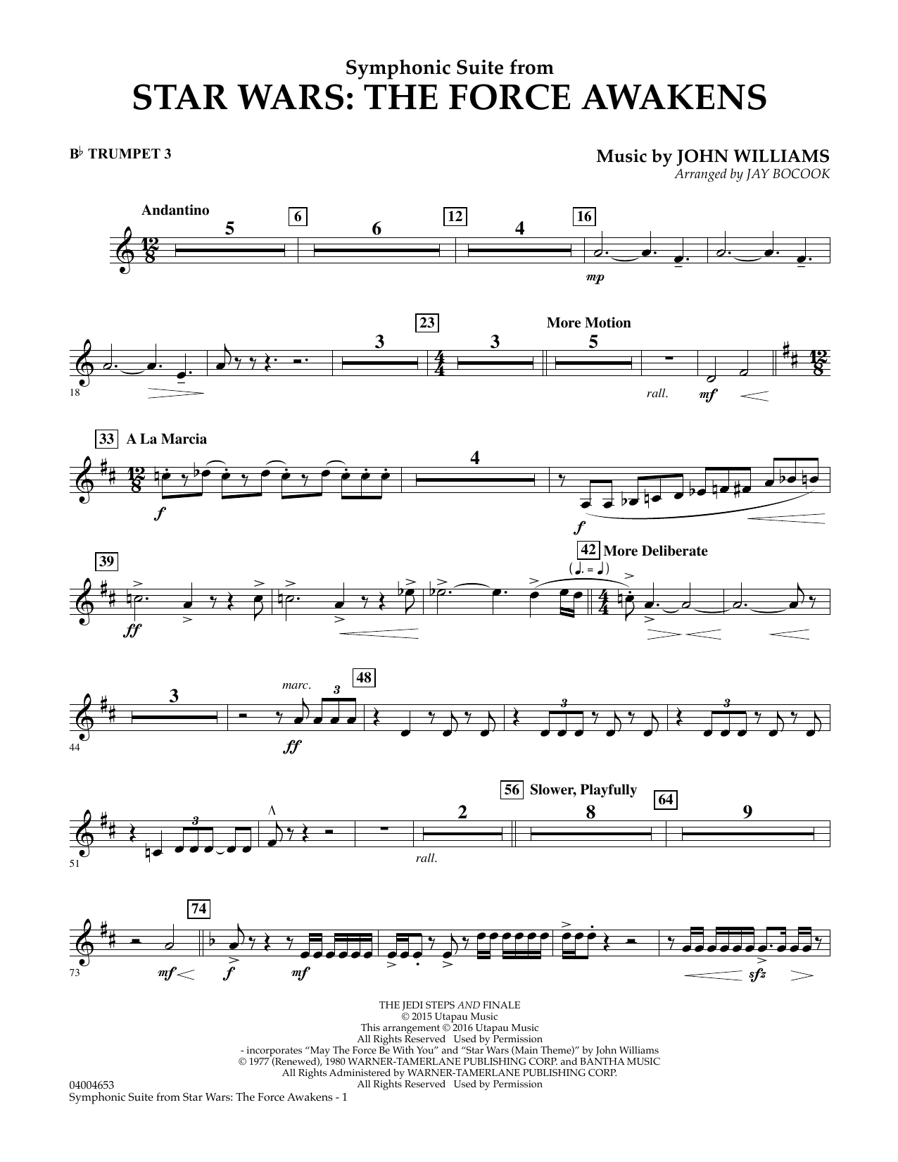 Symphonic Suite from Star Wars: The Force Awakens - Bb Trumpet 3 (Concert Band)