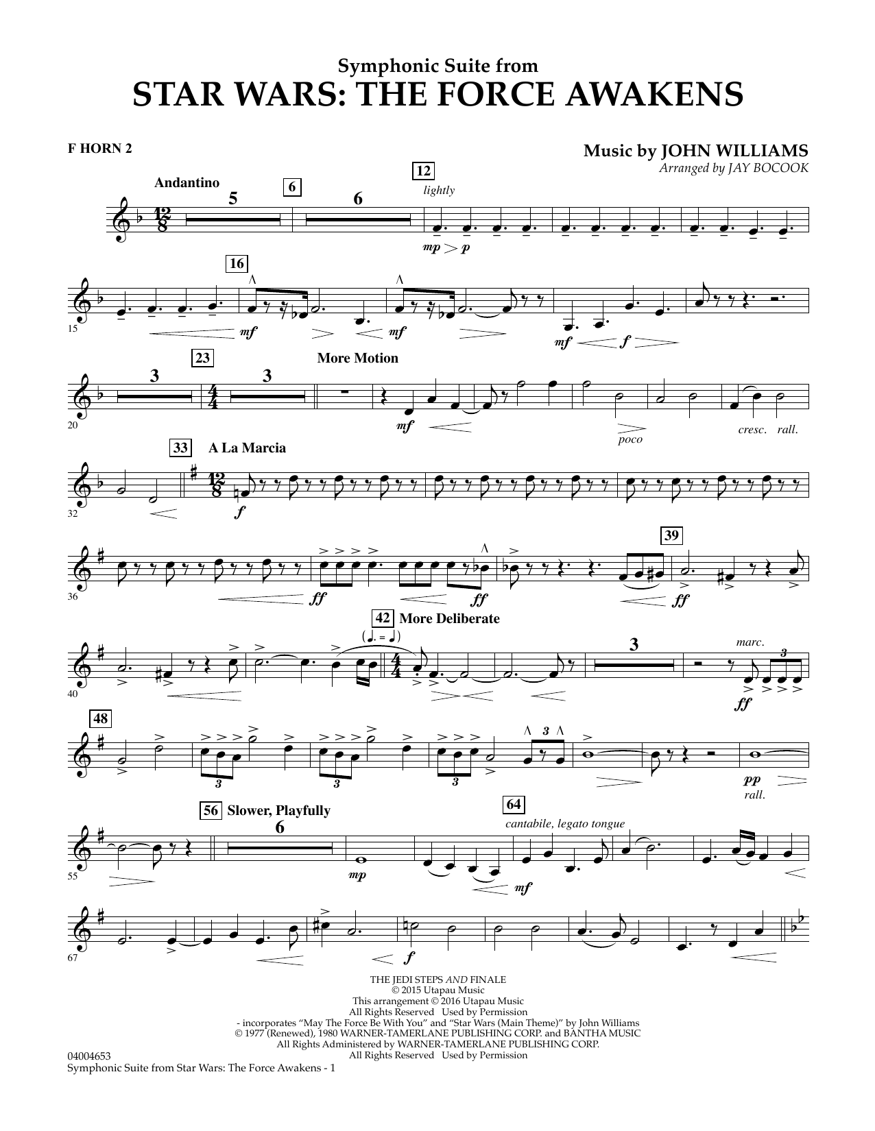Symphonic Suite from Star Wars: The Force Awakens - F Horn 2 (Concert Band)