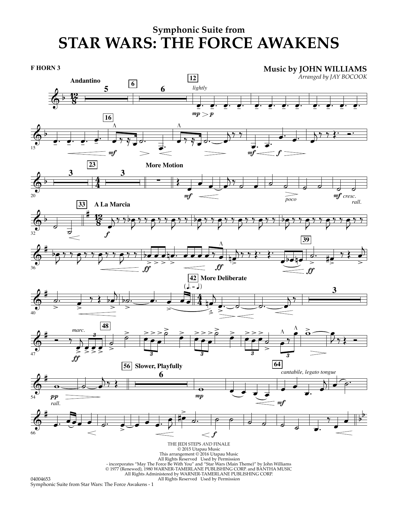 Symphonic Suite from Star Wars: The Force Awakens - F Horn 3 (Concert Band)