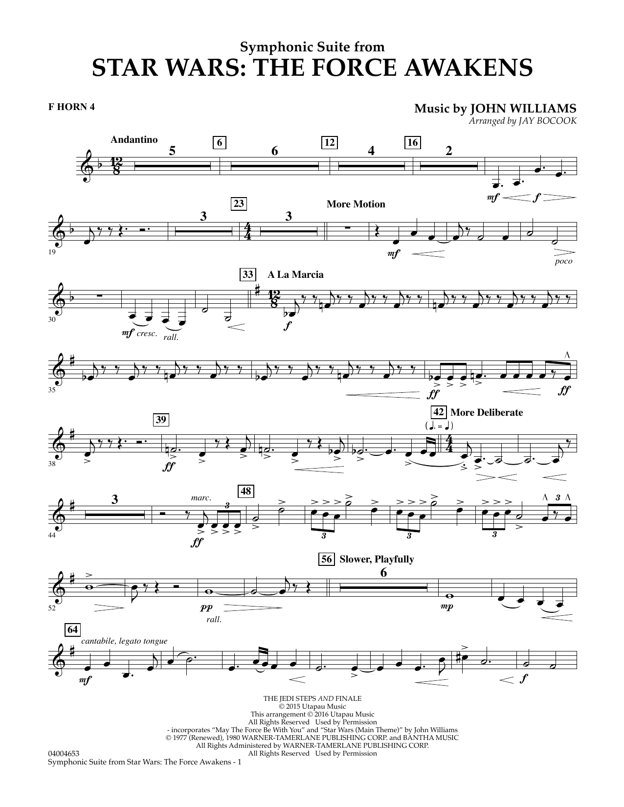Symphonic Suite from Star Wars: The Force Awakens - F Horn 4 (Concert Band)