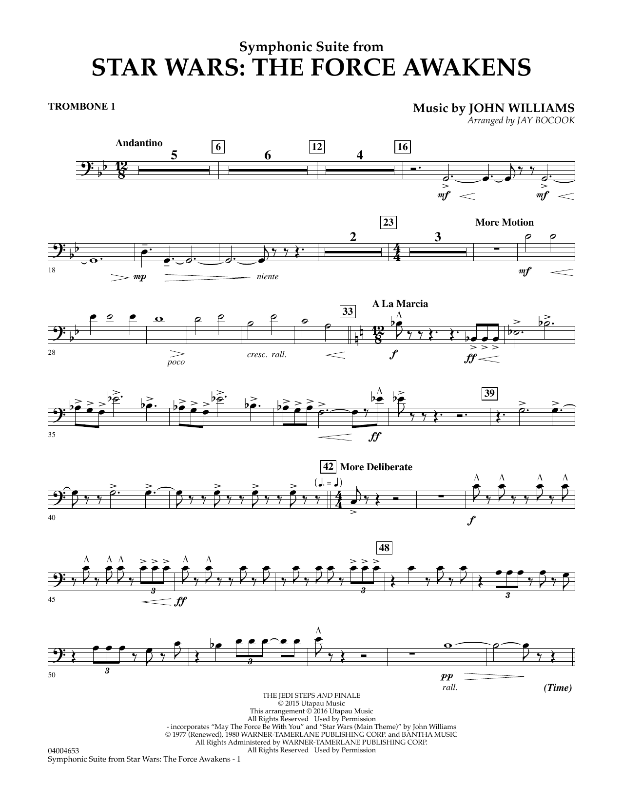 Symphonic Suite from Star Wars: The Force Awakens - Trombone 1 (Concert Band)