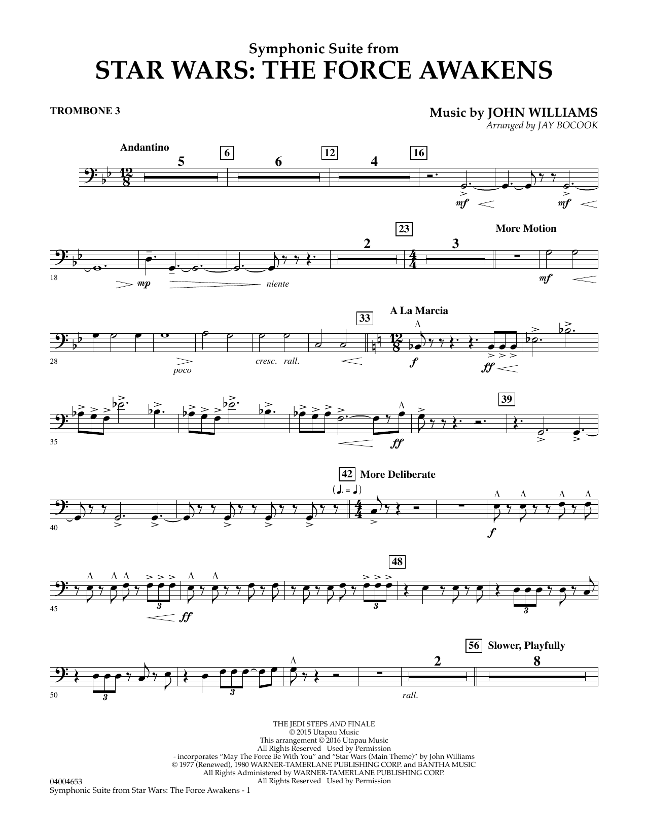 Symphonic Suite from Star Wars: The Force Awakens - Trombone 3 (Concert Band)