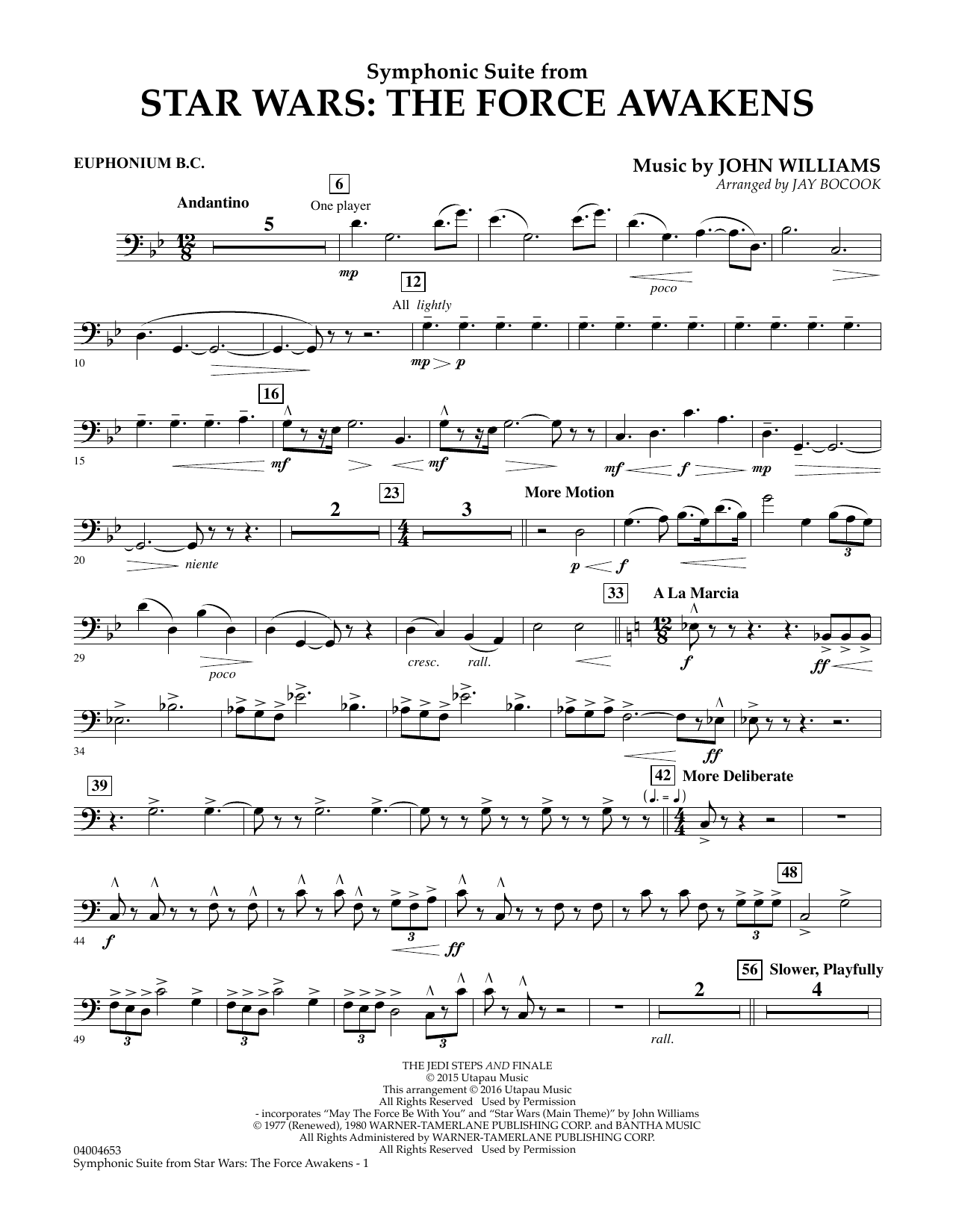Symphonic Suite from Star Wars: The Force Awakens - Euphonium B.C. (Concert Band)