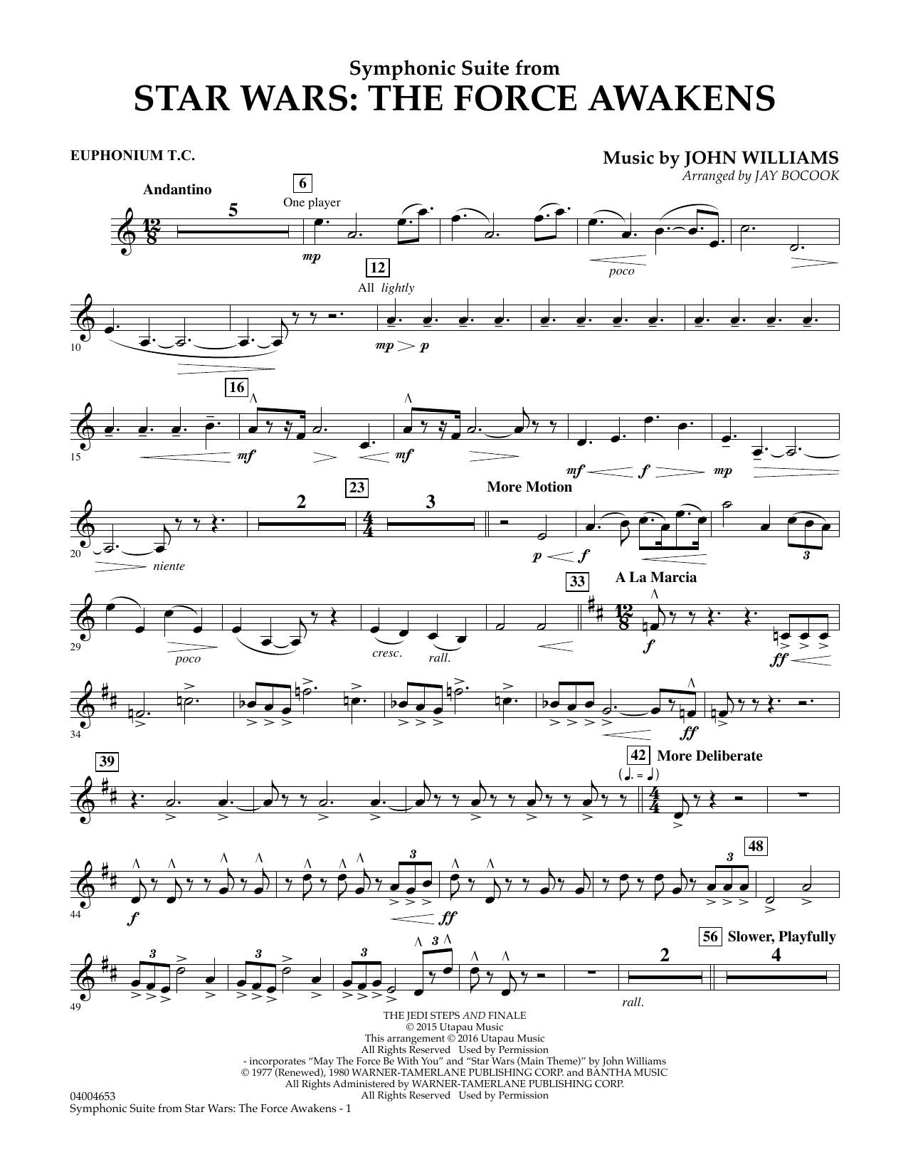Symphonic Suite from Star Wars: The Force Awakens - Euphonium T.C. (Concert Band)