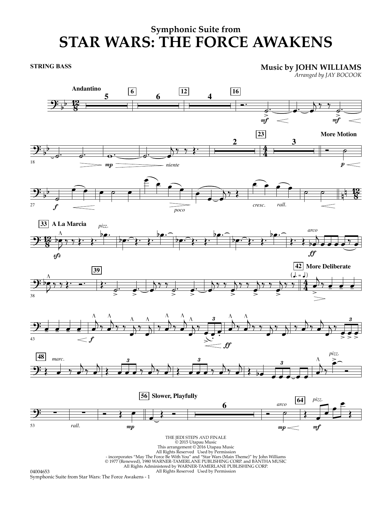 Symphonic Suite from Star Wars: The Force Awakens - String Bass (Concert Band)