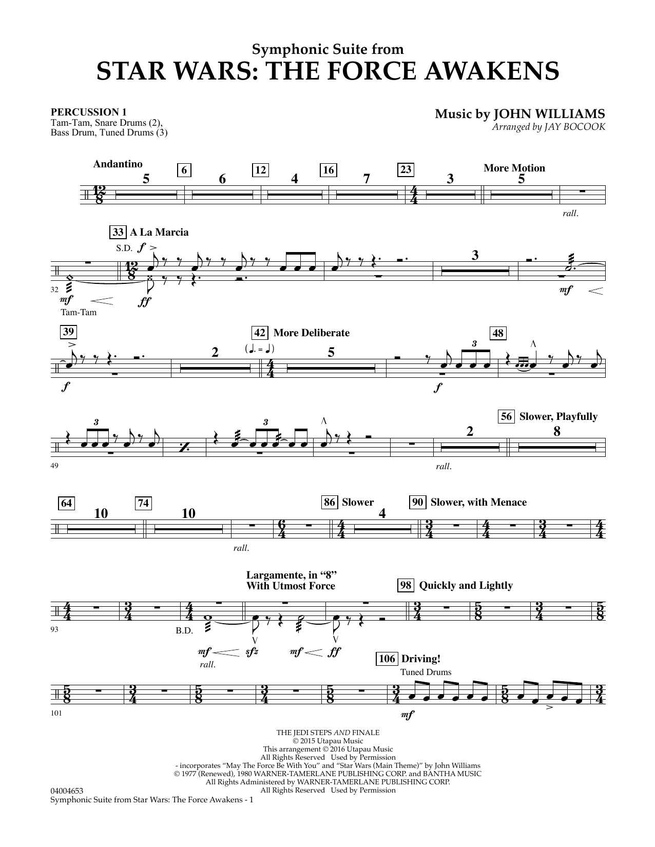 Symphonic Suite from Star Wars: The Force Awakens - Percussion 1 (Concert Band)