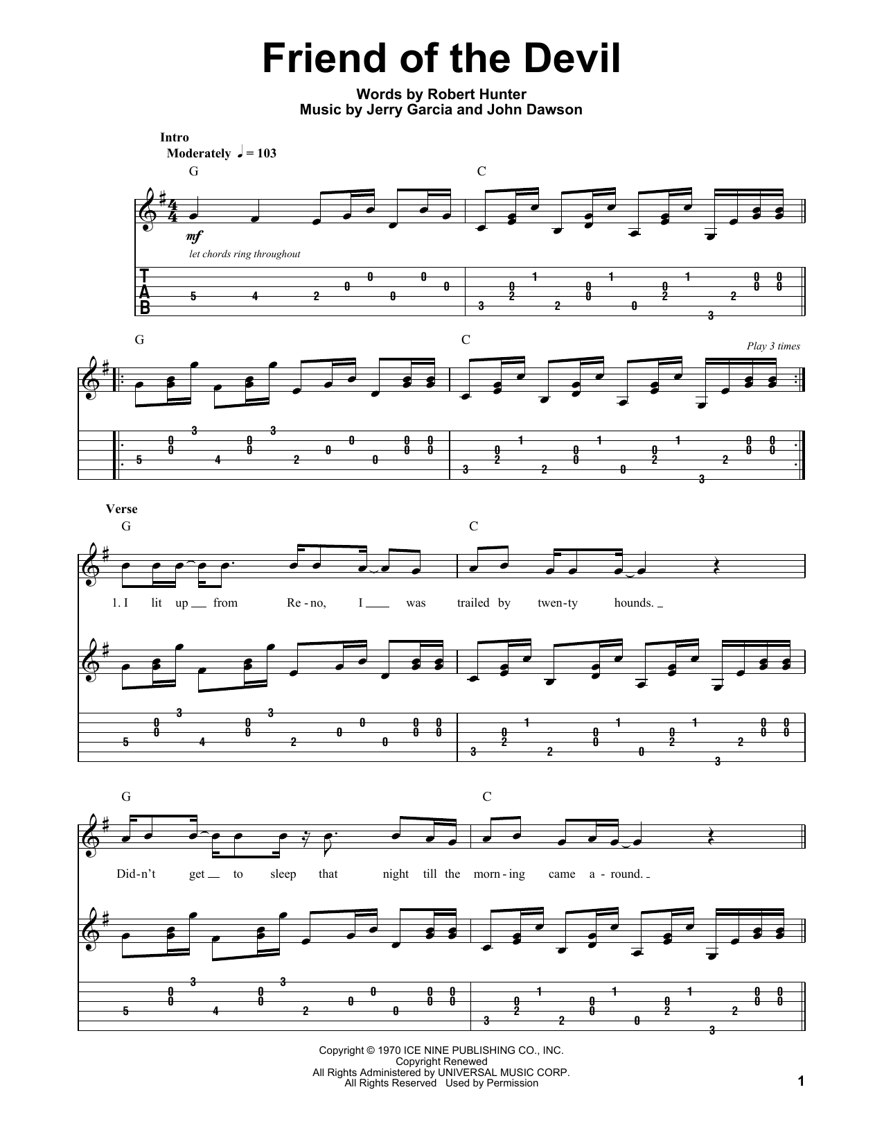 Friend Of The Devil Sheet Music