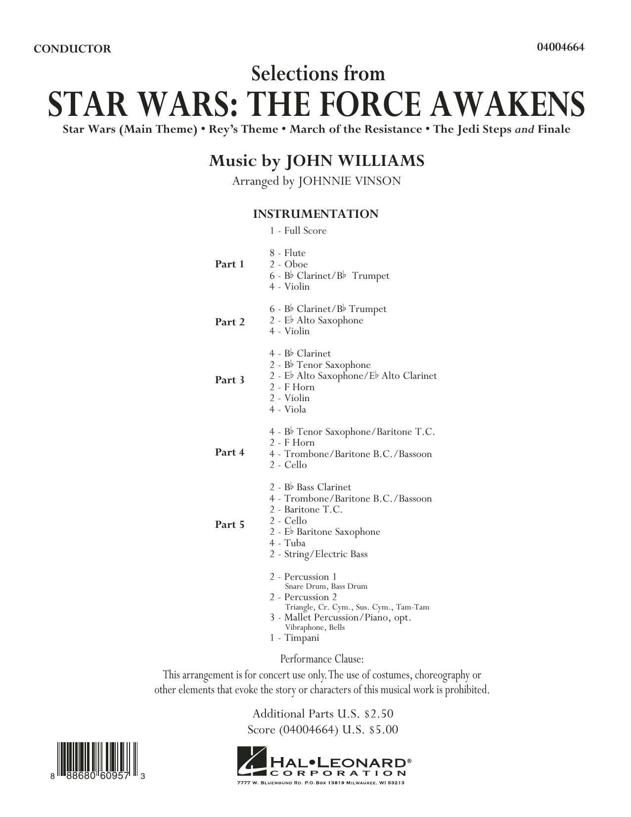 Selections from Star Wars: The Force Awakens - Conductor Score (Full Score) (Concert Band: Flex-Band)